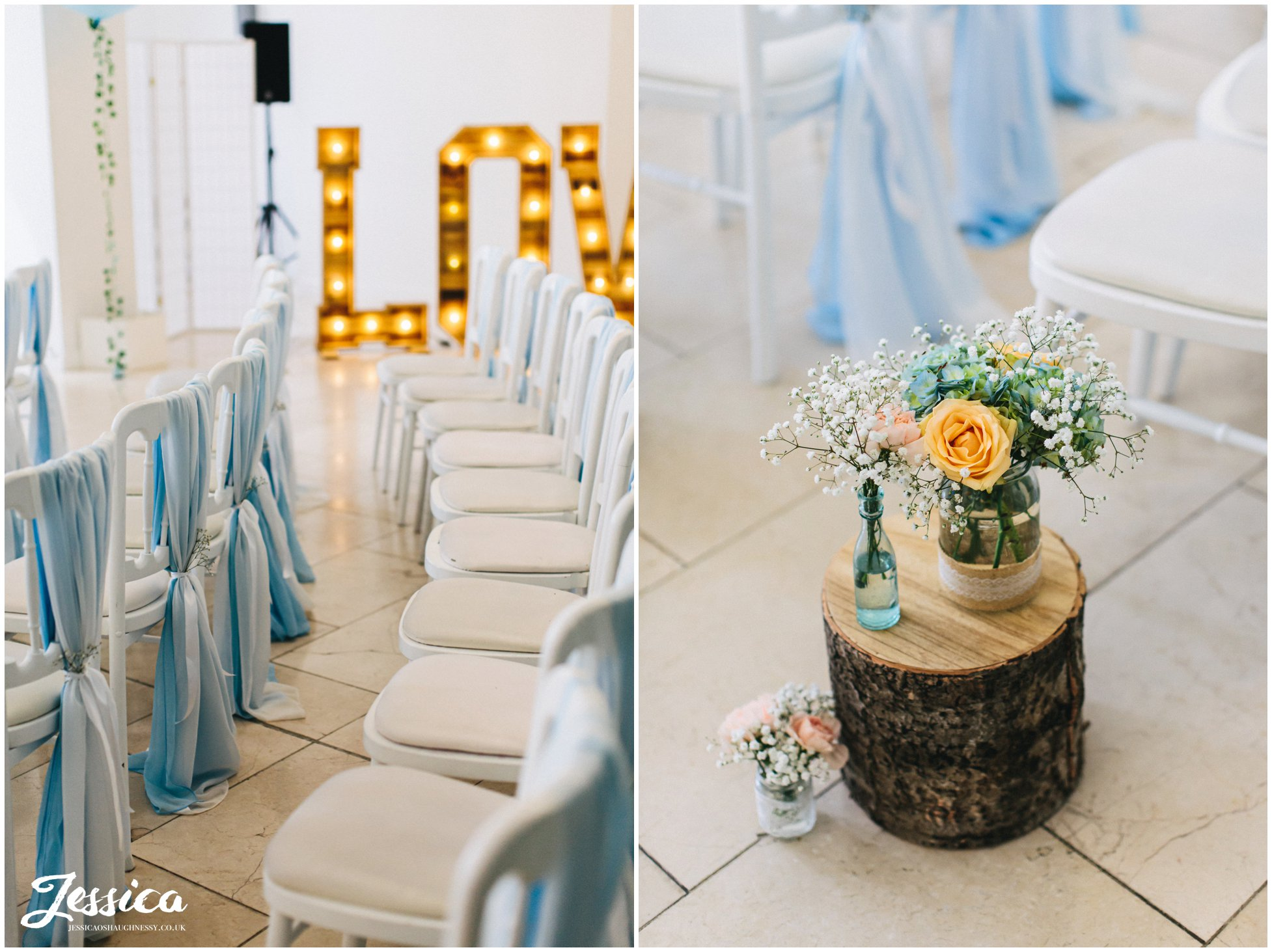 blue & peach flowers decorate the liverpool wedding venue