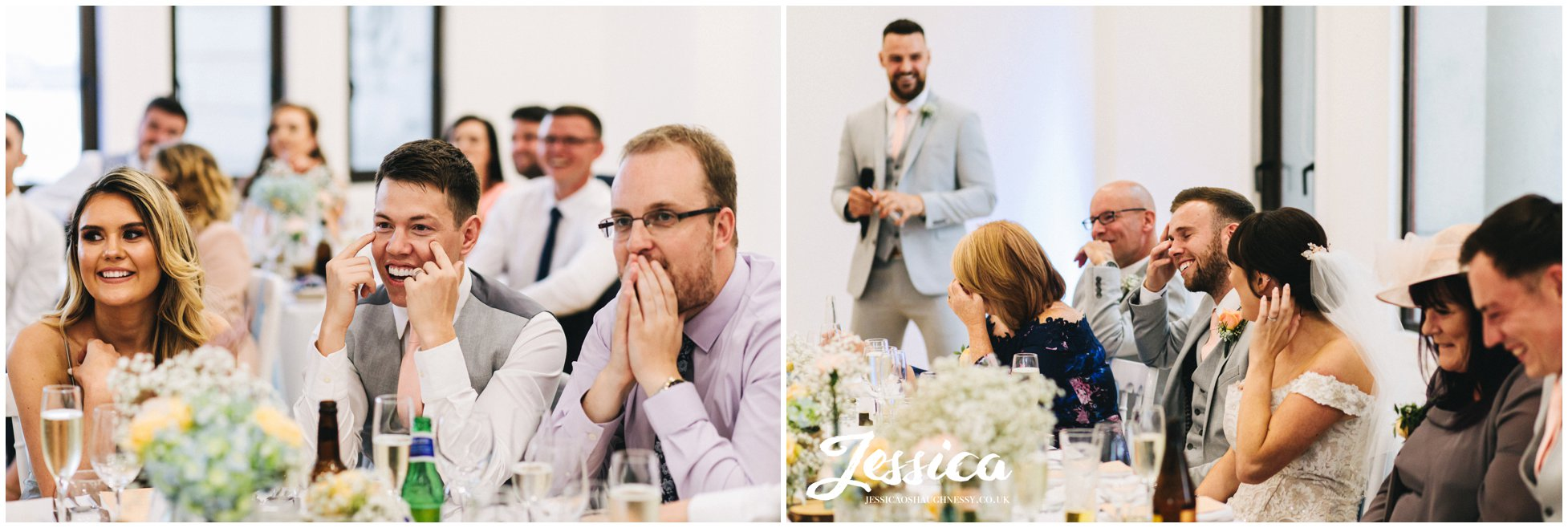 best man stands to do his speech as the groom cringes