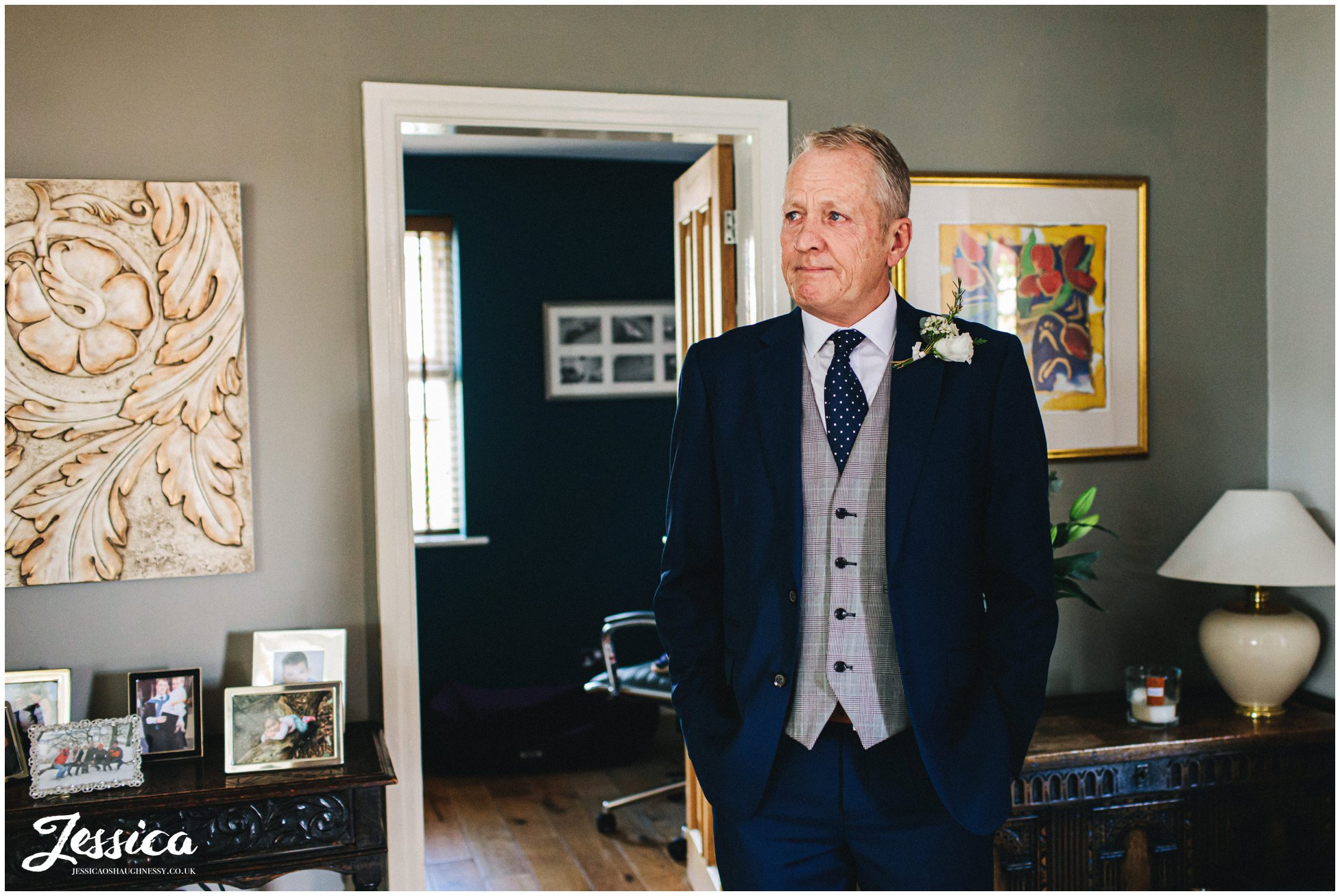 father of the bride gets emotional as he waits to see his daughter