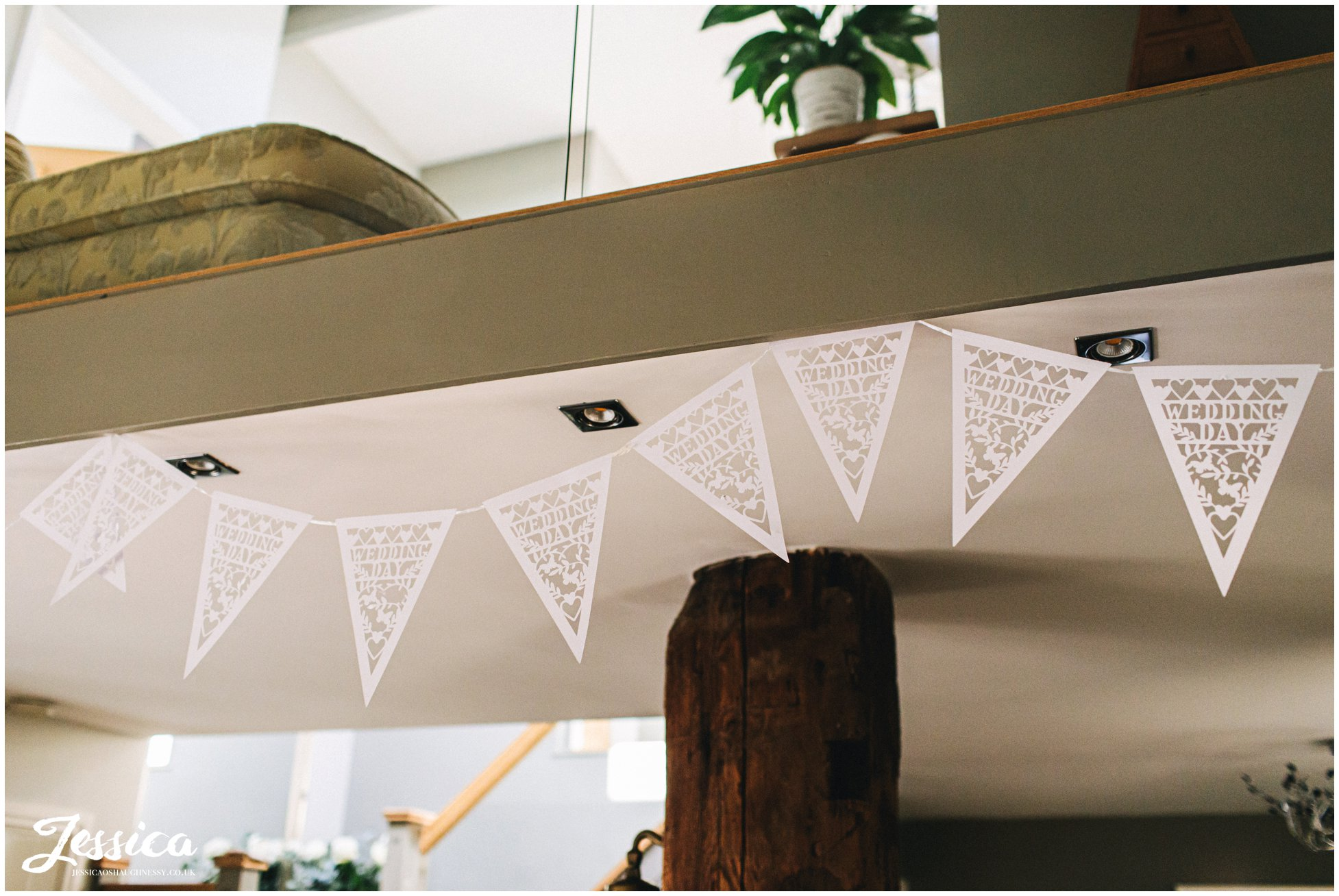 Wedding Day bunting decorates brides home