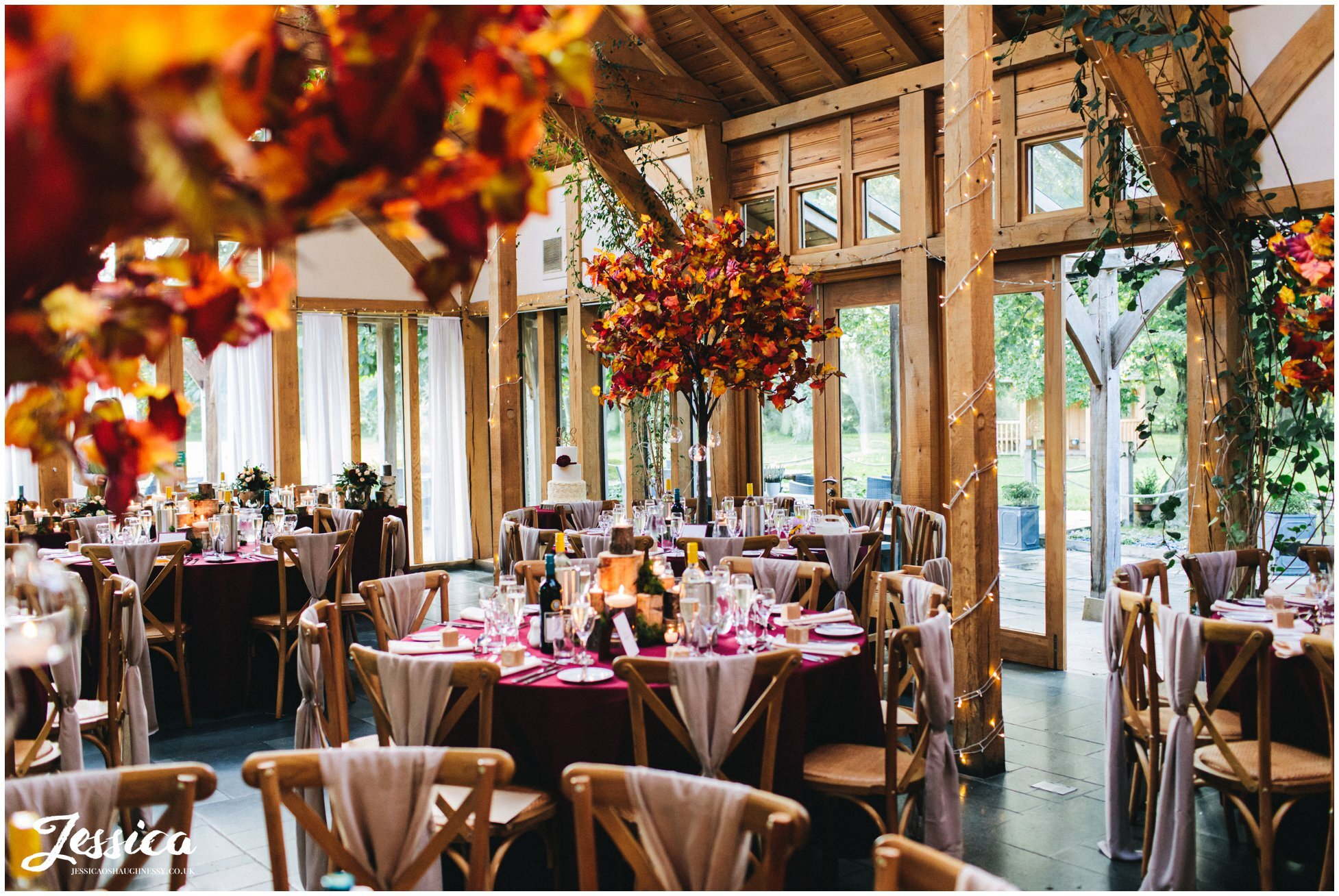 the oak tree of peover decorated in autumnal colours for an October wedding