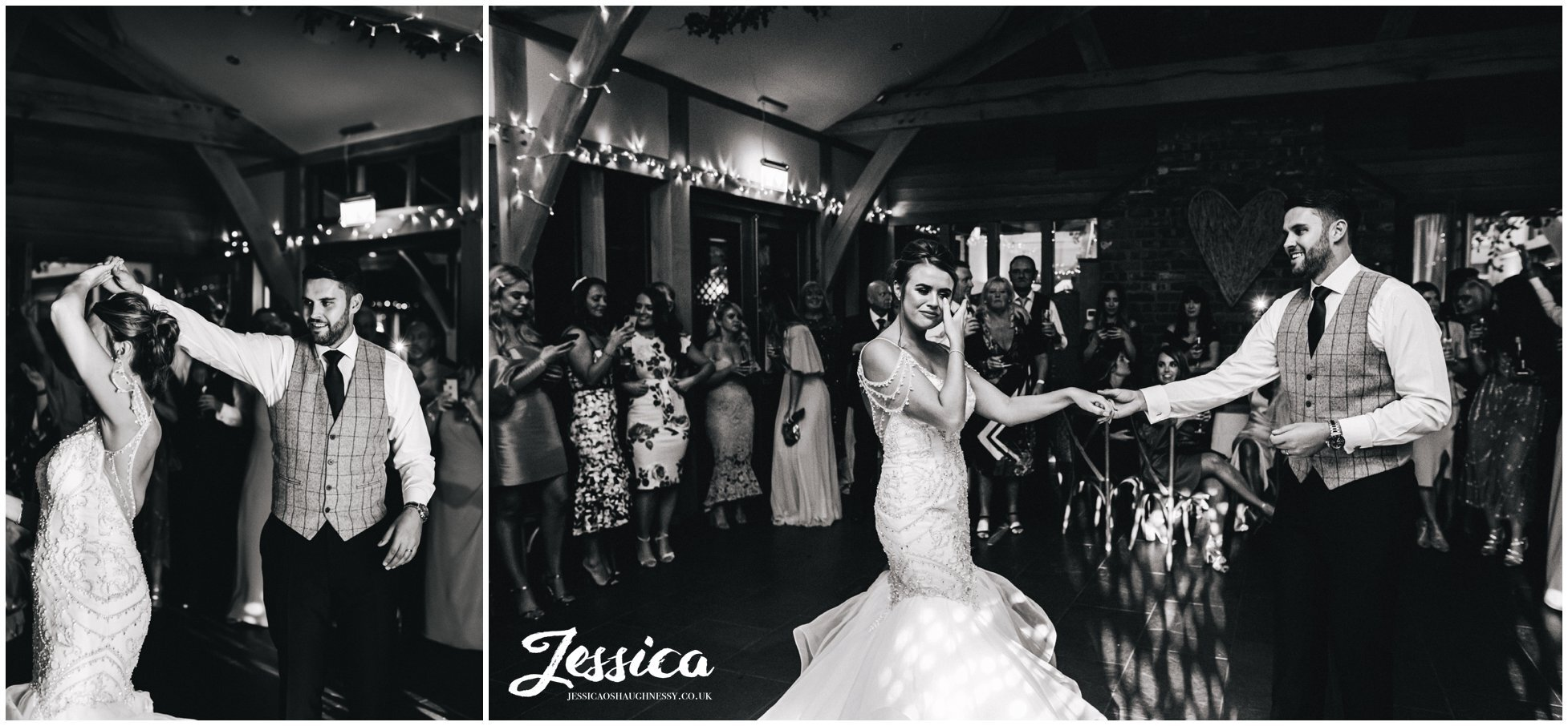 bride and groom have emotional first dance