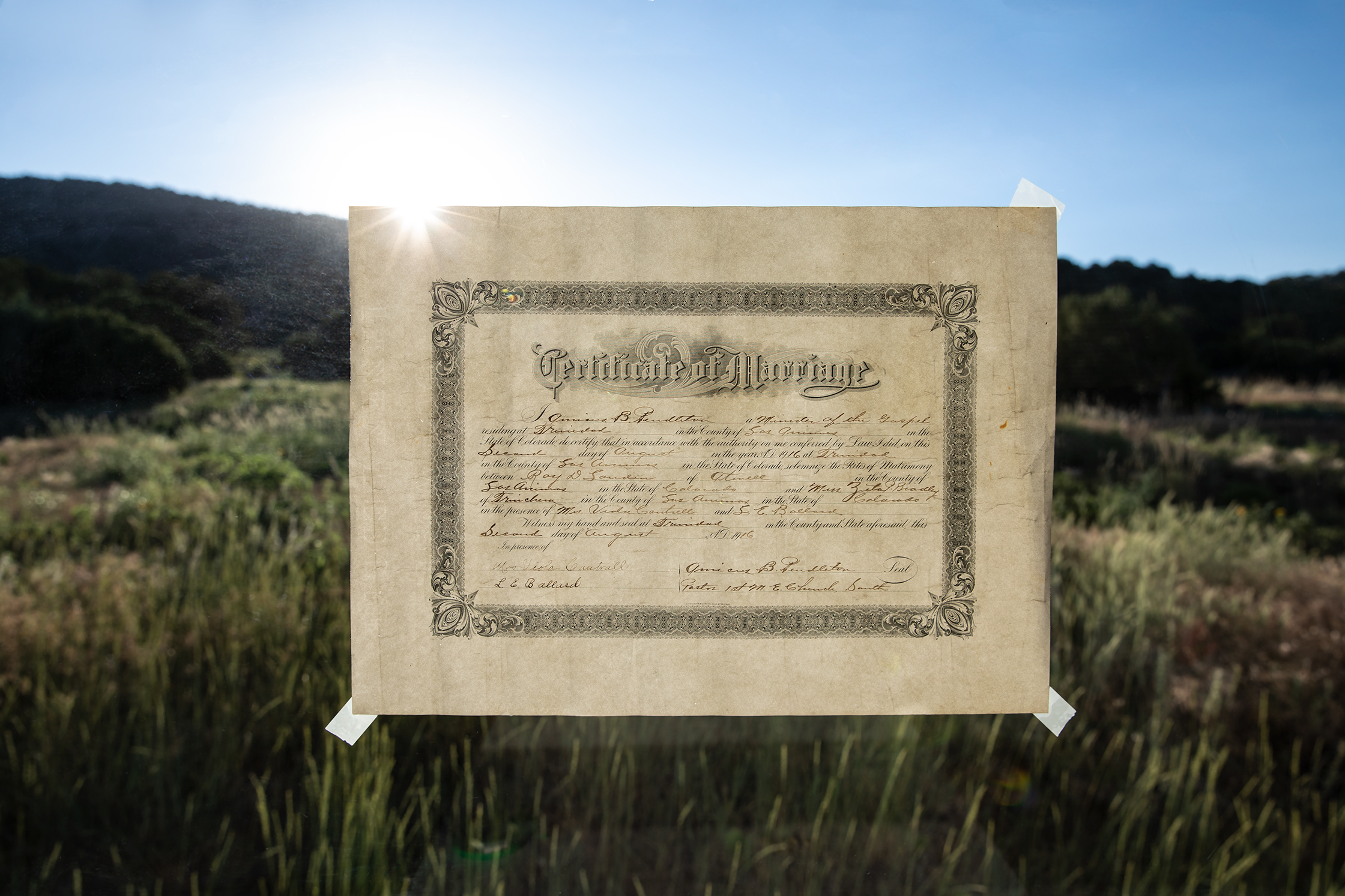 Their marriage certificate - August 2nd, 1916