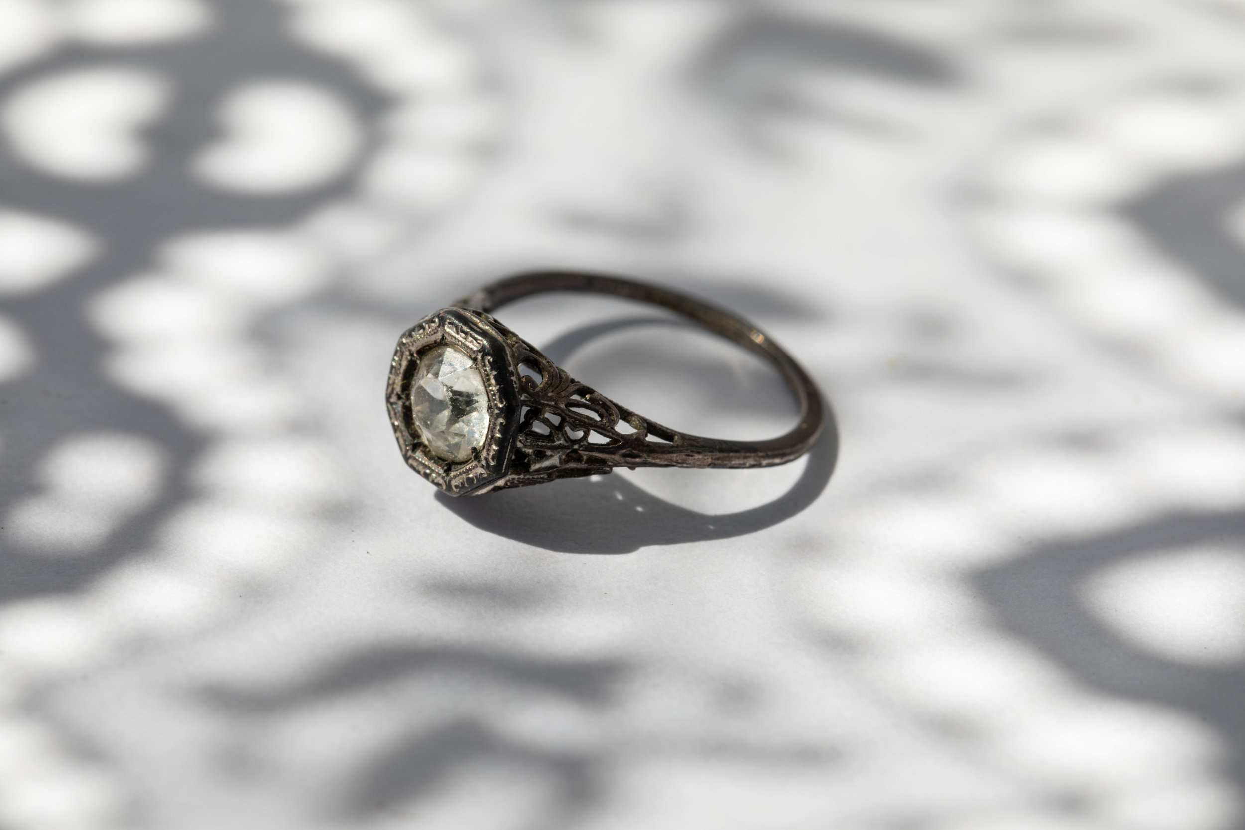 A relative ask if I found the diamond ring that Grandma Zita hid around the house for safe keeping. Last known hiding spot was a flour sack. She's been dead 36 years and the ring is still hidden.  This is a ring found in my Great Grandmother's belongings.  We don't believe it's the ring she kept in hiding.
