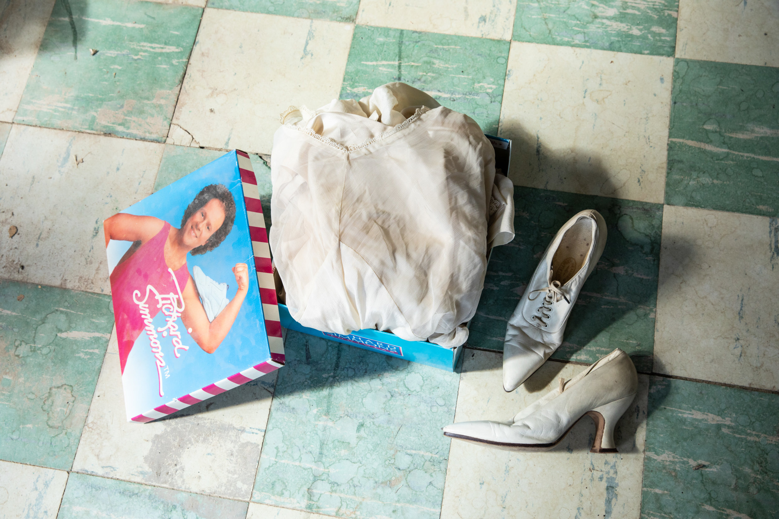 The Richard Simmons box my Great Grandmother's wedding dress, shoes & stockings were found in.