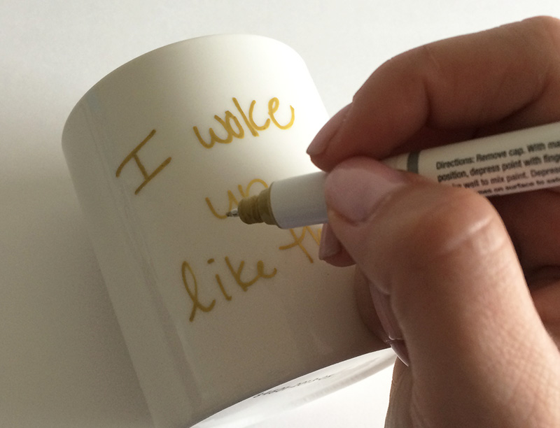 Just make sure you are holding the coffee mug steady as you write.