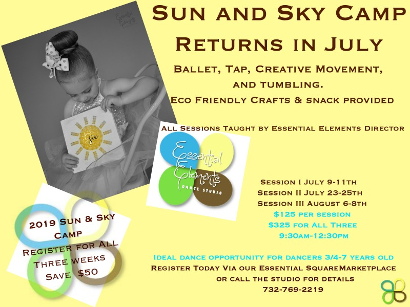 SUN AND SKY CAMP 2019.A huge fan favorite, among our Beginner Movers ages 3-7!!!!We begin our morning with the ever important building blocks of our Dance Education: Terminology and Etiquette through coloring and activity. Ballet, Tap, Jazz and or Creative movement fill most of our morning- followed by the highlight of the day…Eco Friendly Craft and body healthy snacks!!!THIS IS THE IDEAL OUTLET FOR FAMILIES CONTEMPLATING STARTING THEIR PRE SCHOOLER or ELEMENTARY AGE DANCER IN CLASSES FOR THE FALL.One Camp, One Commitment: Three Days, Three Hours. Your Child is bound to be touched. by the Element of Family, Fun and Excitement at Essential Elements. All Sun and Sky Camps taught by Director, Samantha A Zaleski. - REGISTER HERE:https://squareup.com/store/essential-elements-dance-studio/item/sun-and-sky-camps?t=modal-em