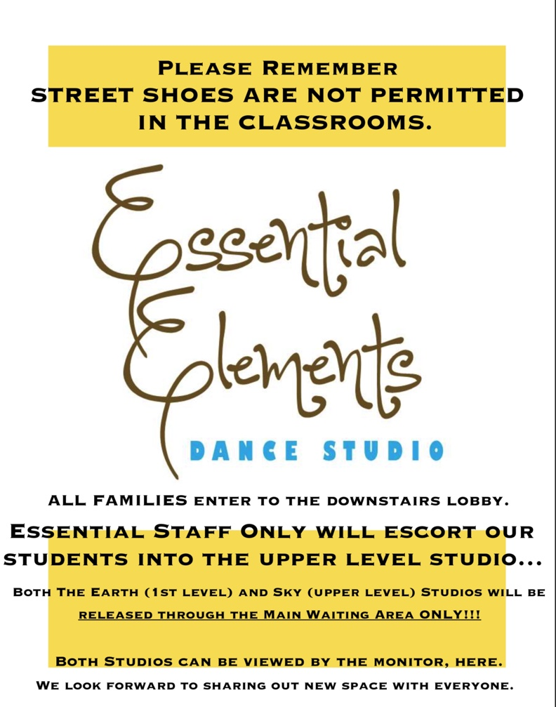 Please Note The Construction is nearly complete on our expanding nest…Please see studio wide email on September 8th for full details. Thank you.SEASON SEVEN OFFICIALLY BEGAN FOR ALL STAFF AND STUDENTS ON MONDAY, SEPTEMBER 16th, 2019. - PLEASE NOTE our policy on drop off and pick up with the addition of our new upper level space.HIP HOP AT ESSENTIAL ELEMENTS BEGINS THIS SEASON. FRIDAY EVENINGS FOR DANCERS 6-12 YEARS OLD.SEMI PRIVATE LESSONS AVAILABLE ON FRIDAY EVENINGS: ACROBATIC ARTS CERTIFIED TEACHER, Kristi Tartaglione, HAS JOINED THE ESSENTIAL STAFF AND WILL AID IN YOUR DANCER'S CHEER AND DANCETEAM NEEDS: ARIELS, HANDSPRINGS, AND FLOOR TRICKS. CALL TODAY FOR SCHEDULING: Friday evening 8-9pm, 1/2 hour lessons.