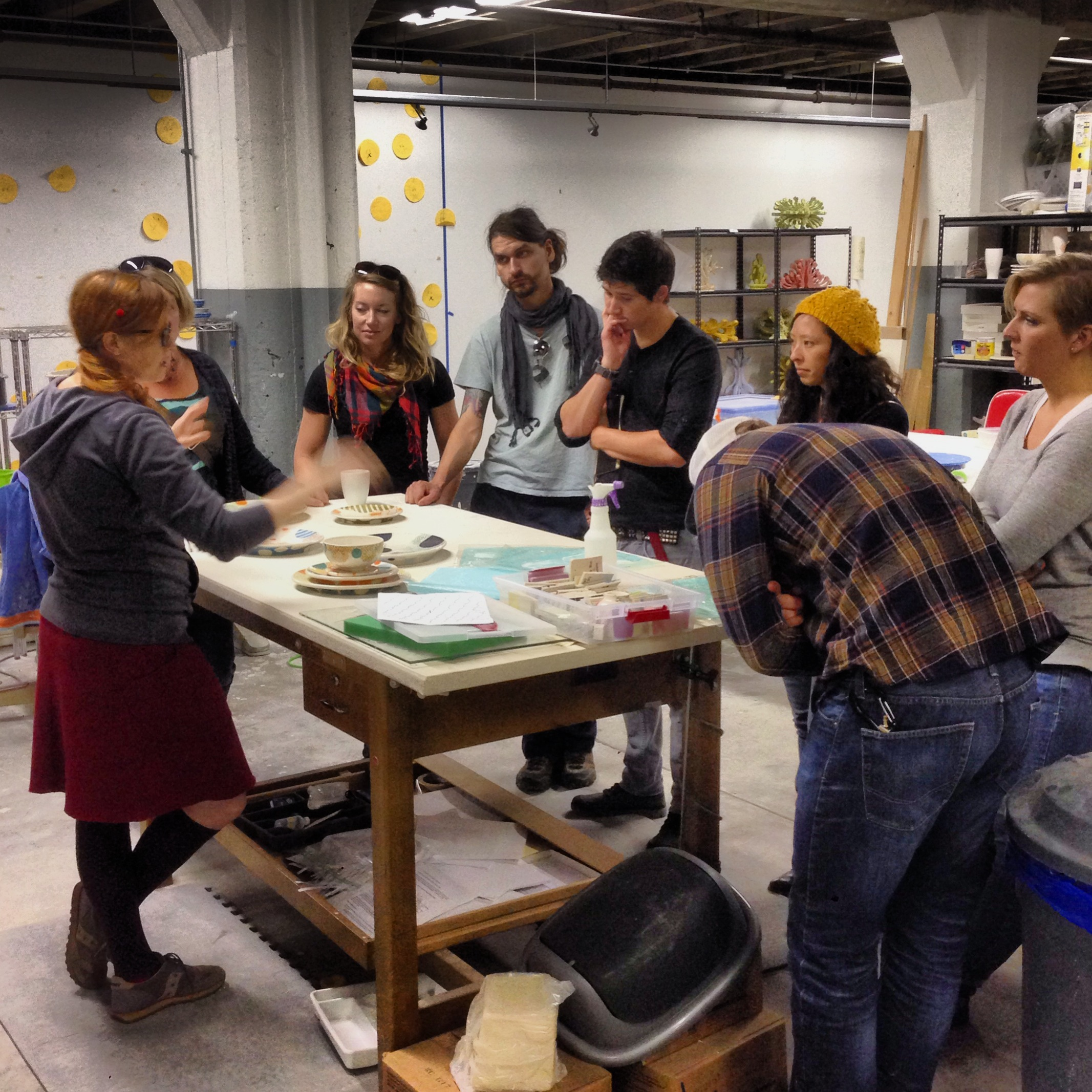 Later in the day, Meredith walked us through her process and the shared studio.