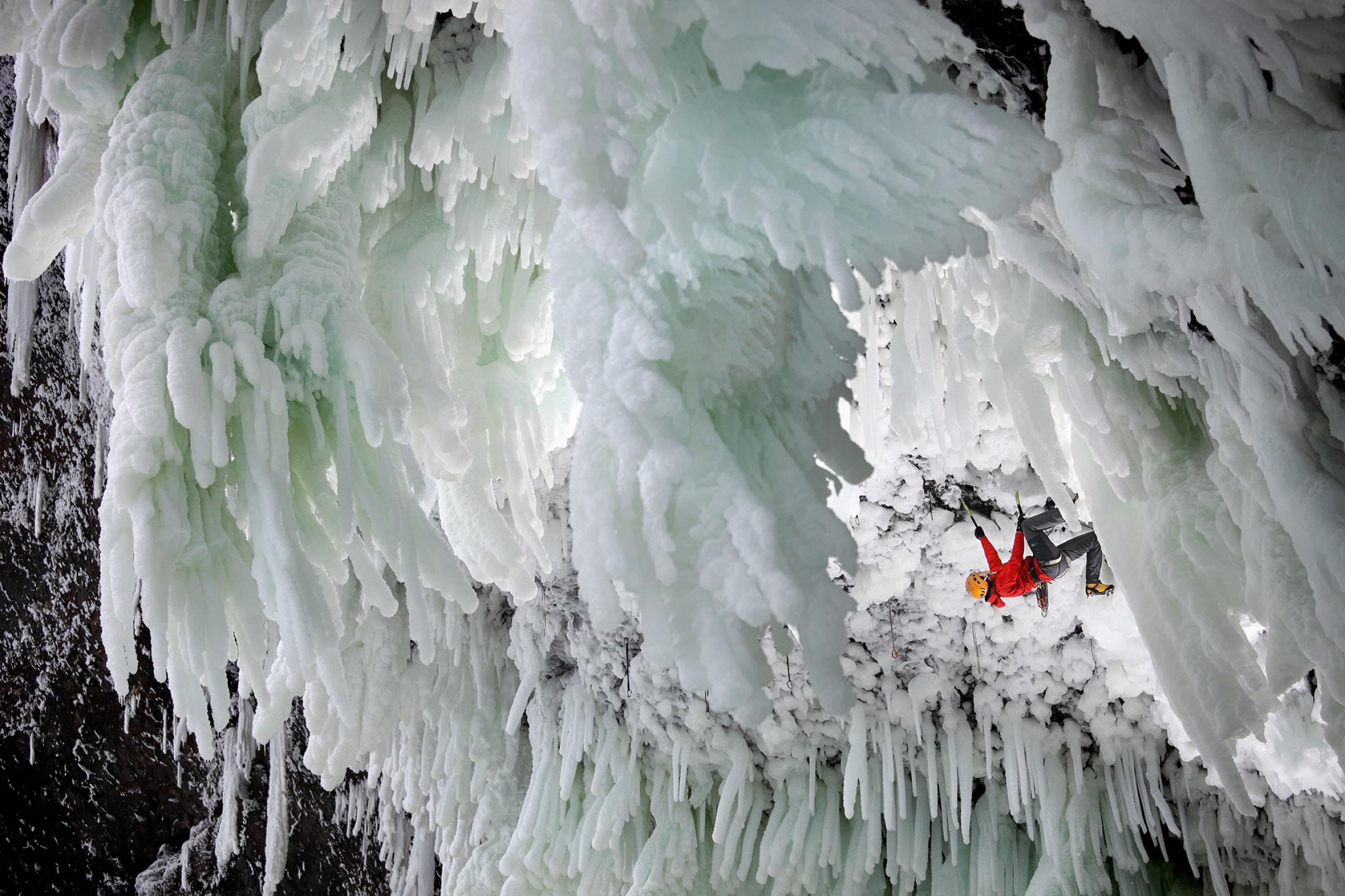 Slawinski ice climbed Spray On at Helmcken Fall in British Columbia.   PHOTOGRAPH BY  WIKTOR SKUPINSKI