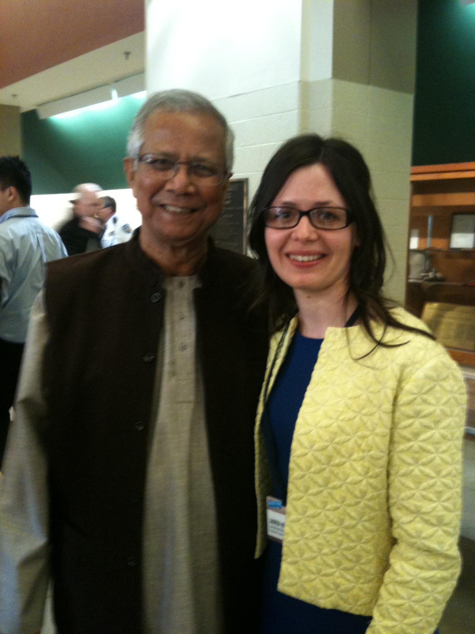 Lauren Herman and Mohammad Yunus. Yunus is the founding pioneer of microcredit.