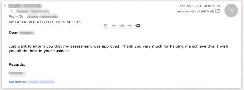 CDR Assessment Result engineering Australia 12