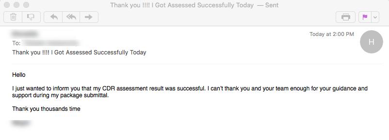 CDR Assessment Result engineering Australia 3