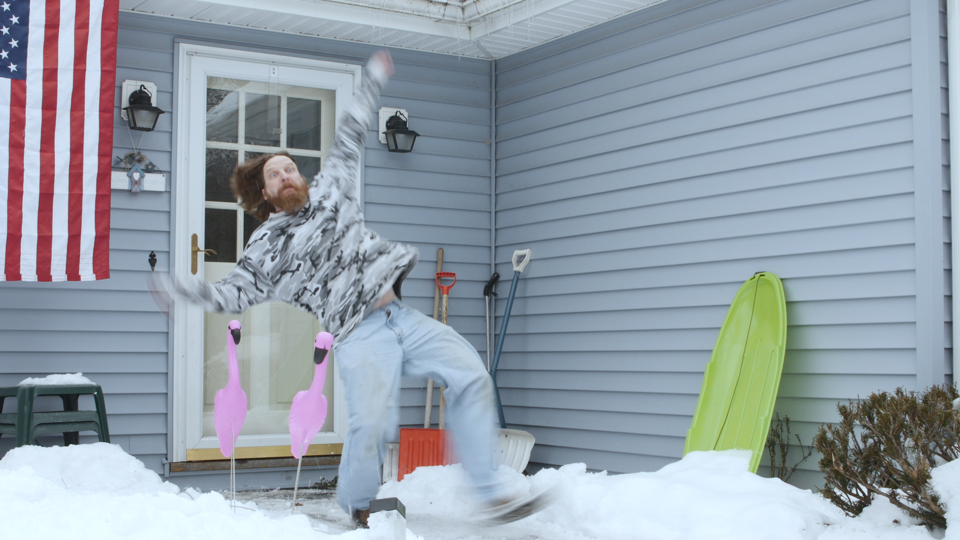 Actor Brian Higgs taking a prat fall in this ungraded still fromHappy Dog.