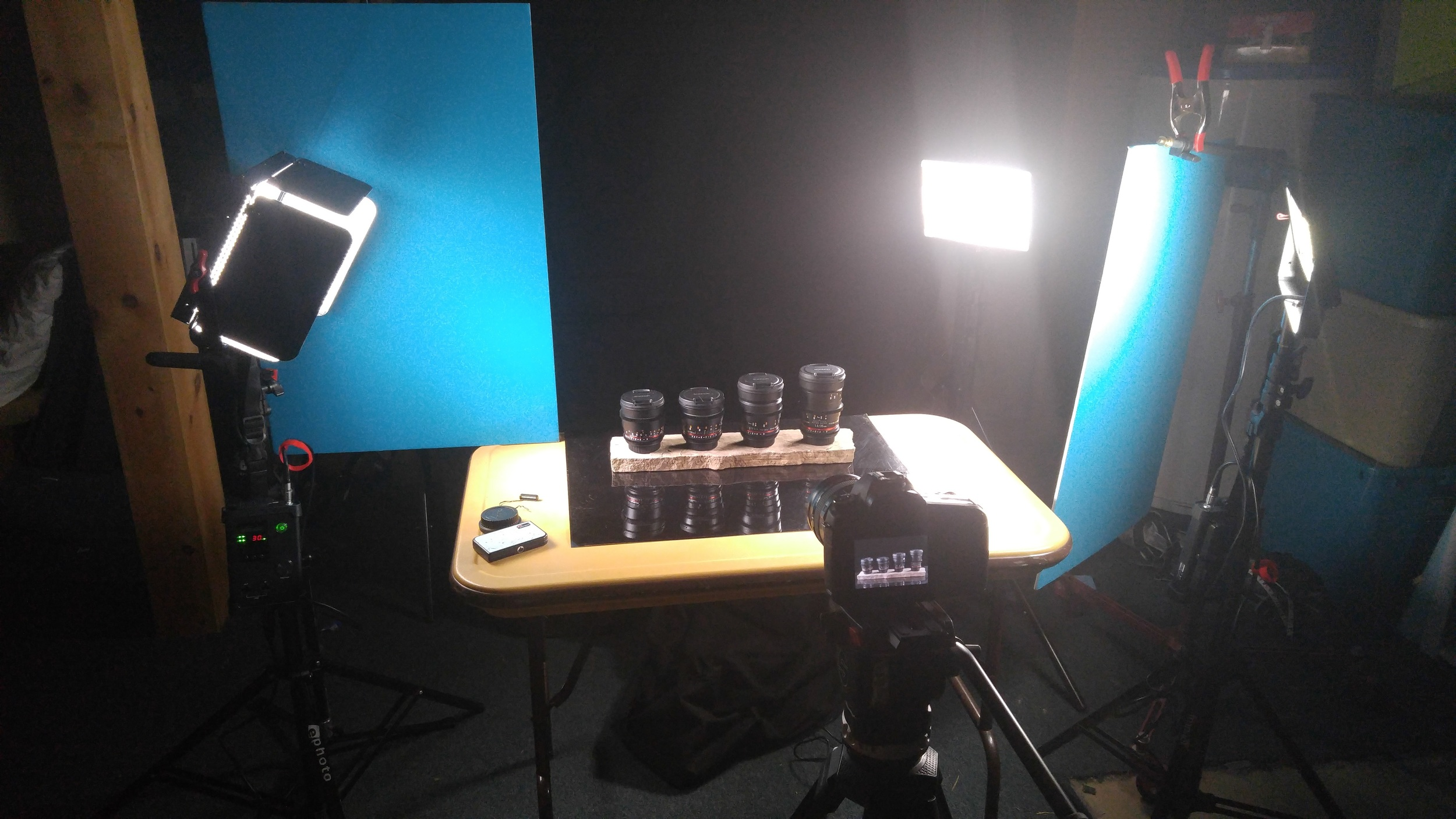 Three LED lights from Aputure were used to light the Rokinon Primes.
