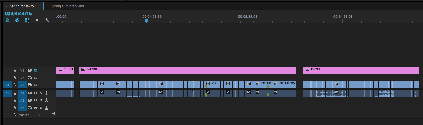 With the visibility on track 3 off my black video is effectively just a big marker that helps keep my footage organized
