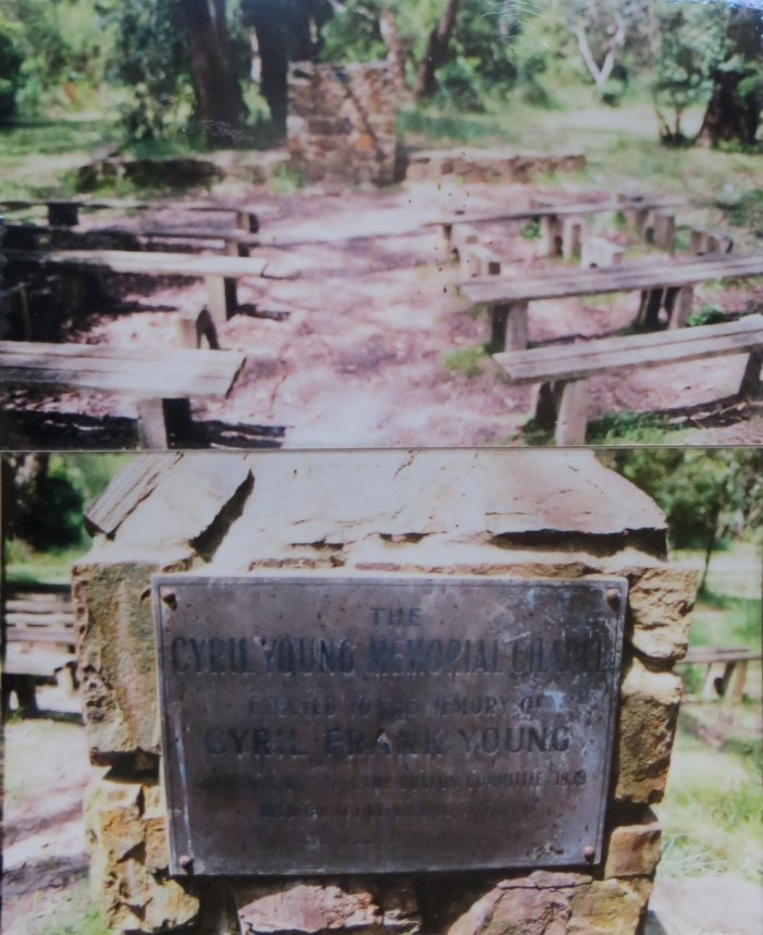 Chapel in the 1990s showing its dedication to Cyril Young (plaque and seats since removed)