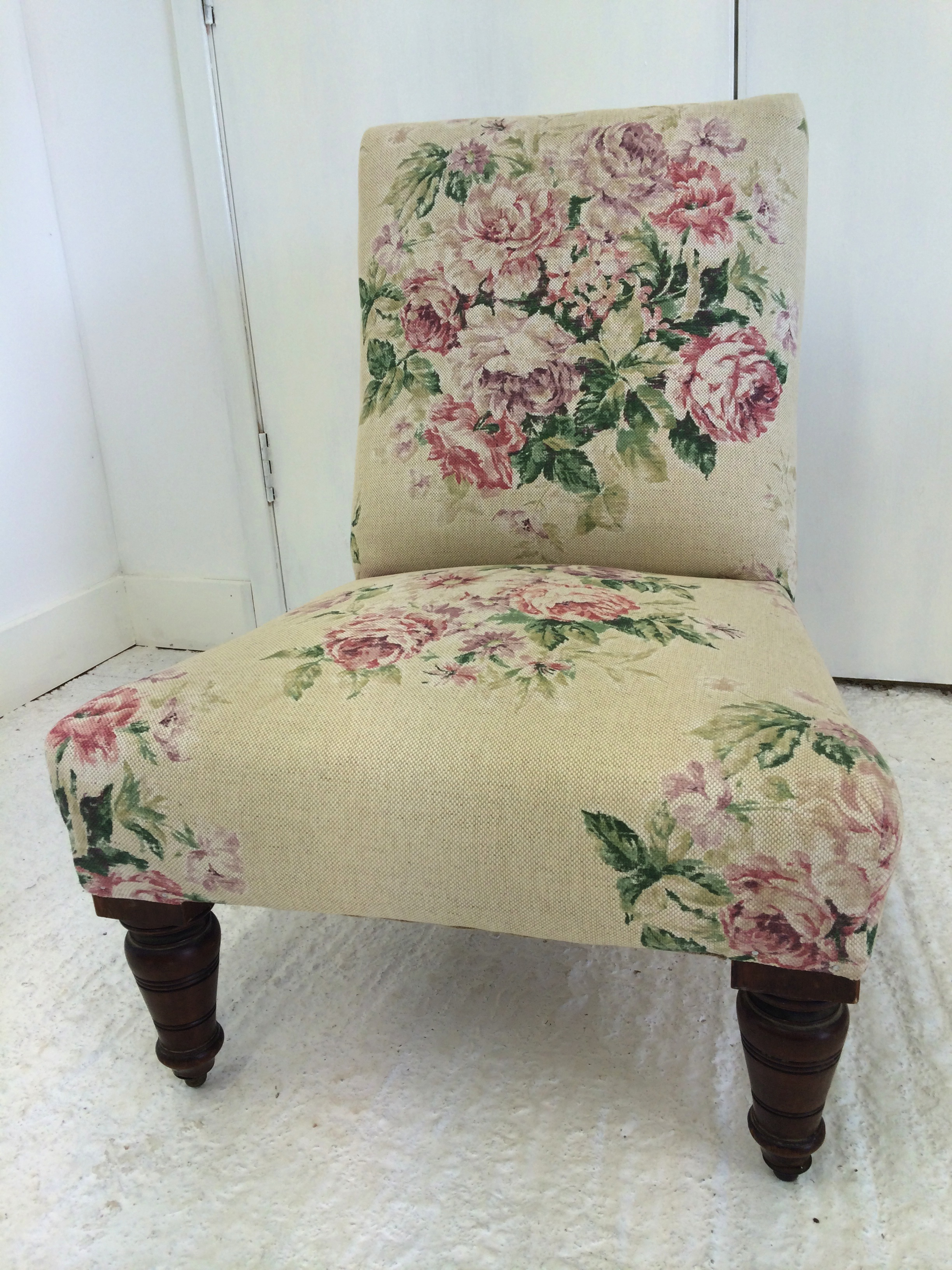 This little chair has been recovered in Weybridge by Sanderson, it is a classic print and the chair looks fantastic.