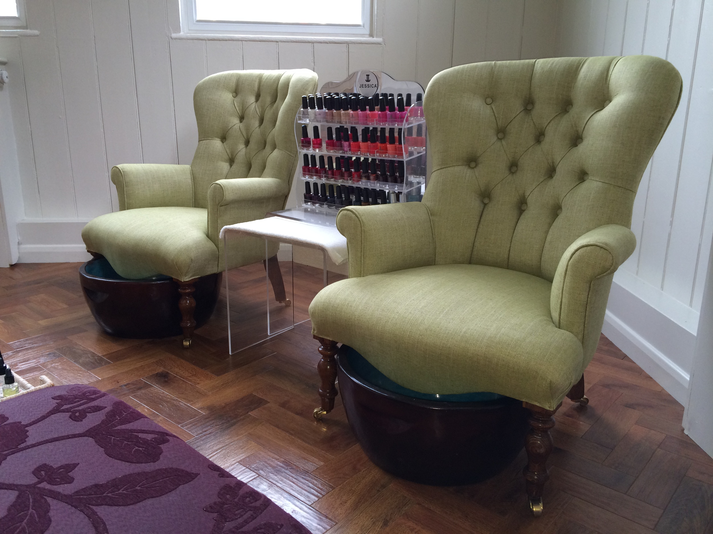 This week I did these two little button back chairs for Kubu Spa in Henley. The chairs are used for the manicure and pedicure treatments. They look fantastic in this beautiful room.  The fabric is in 'Apple' from the Makeda Plains range by Harlequin.