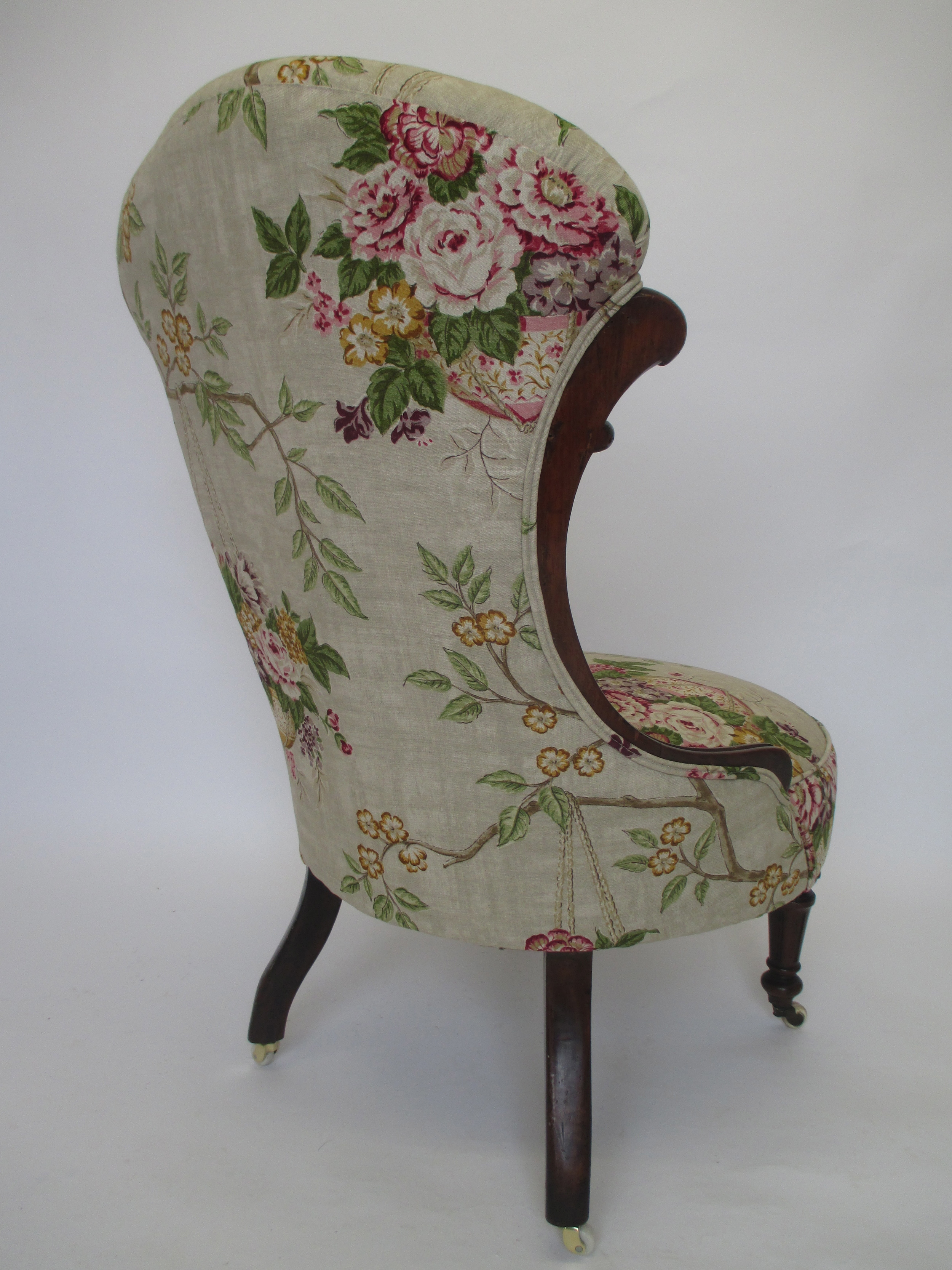 The back of this chair is very pretty, fabric is from Sanderson.