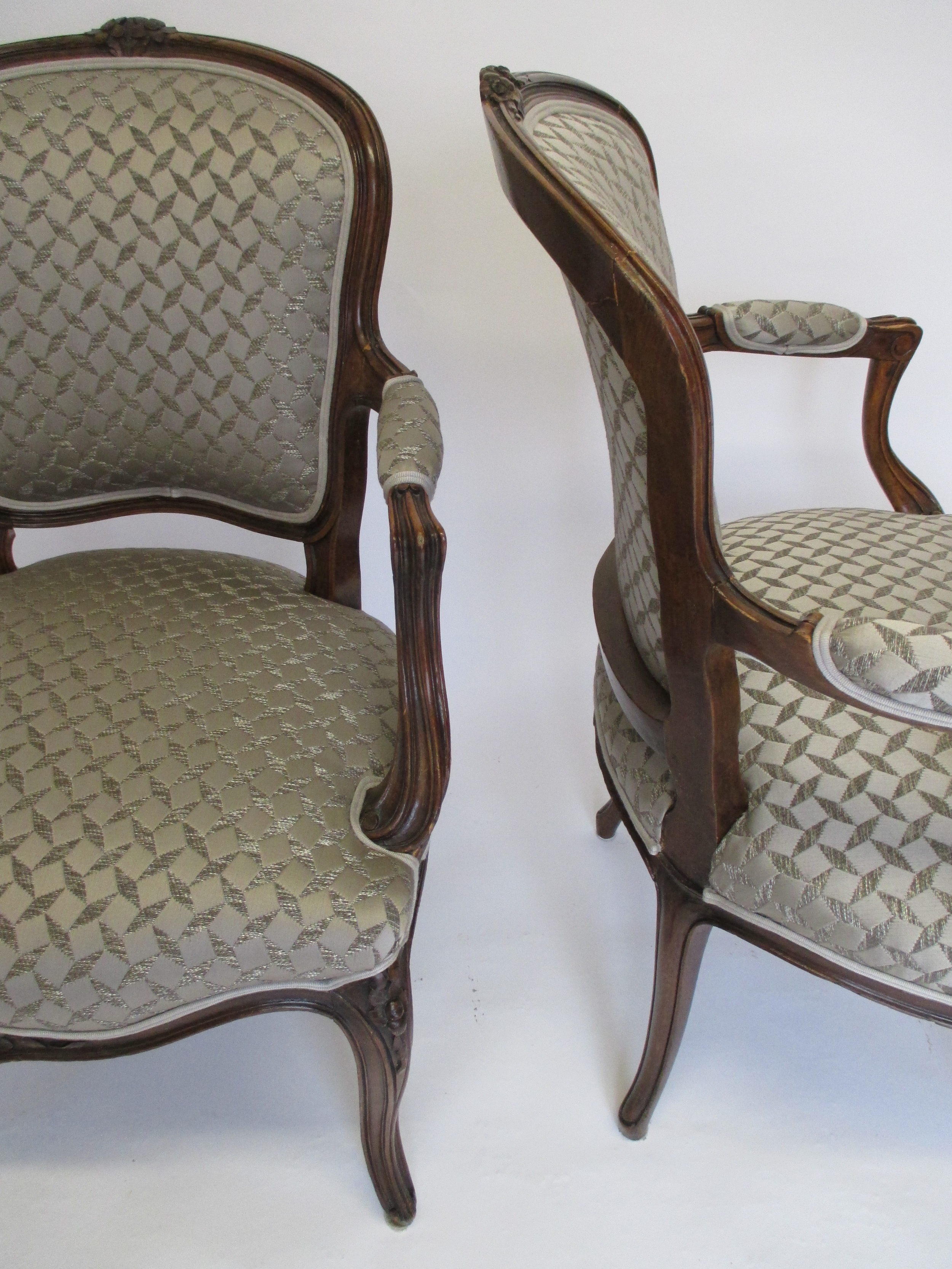 A pair of Louis style chairs in Goldwyn by Romo.