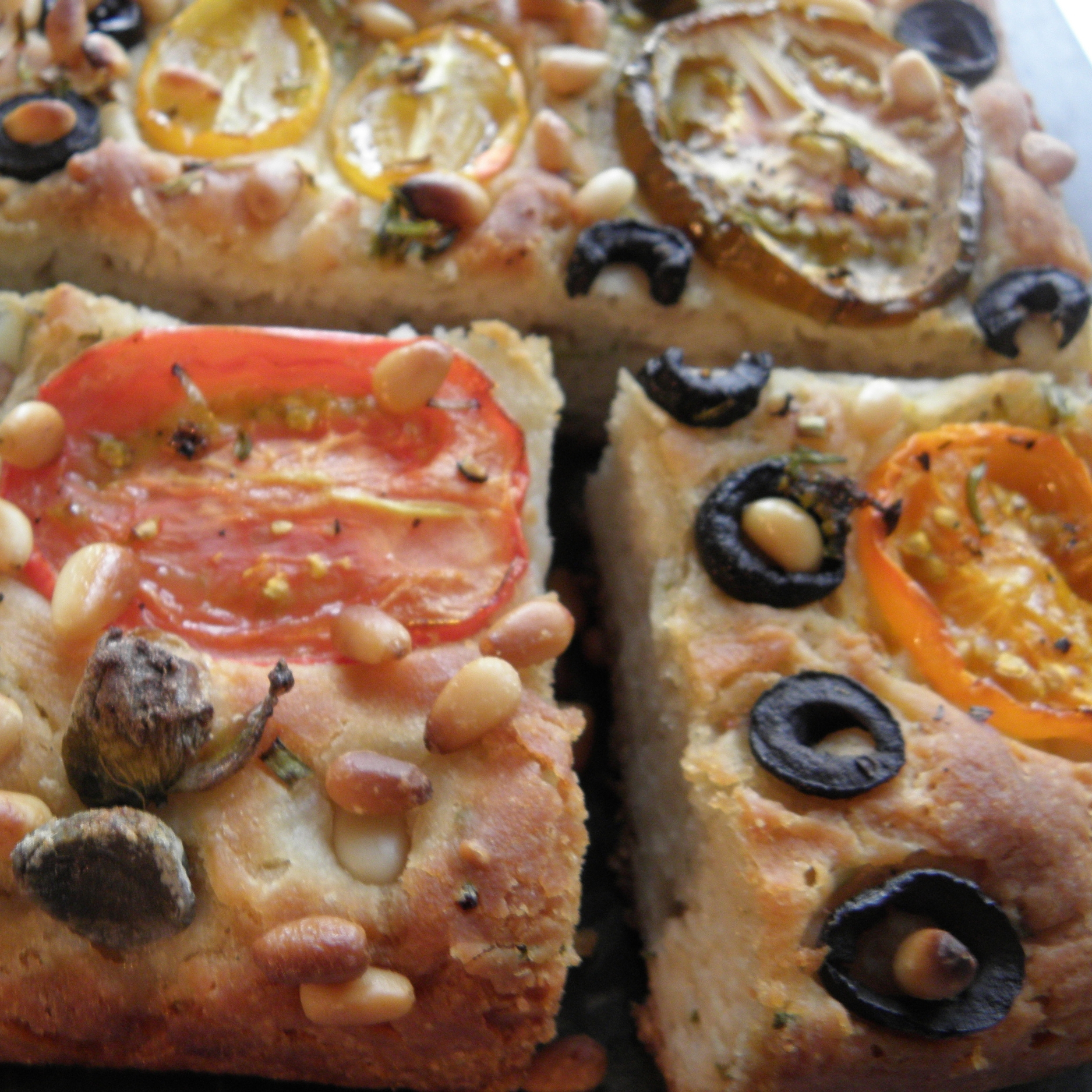 Tomato and chive focaccia