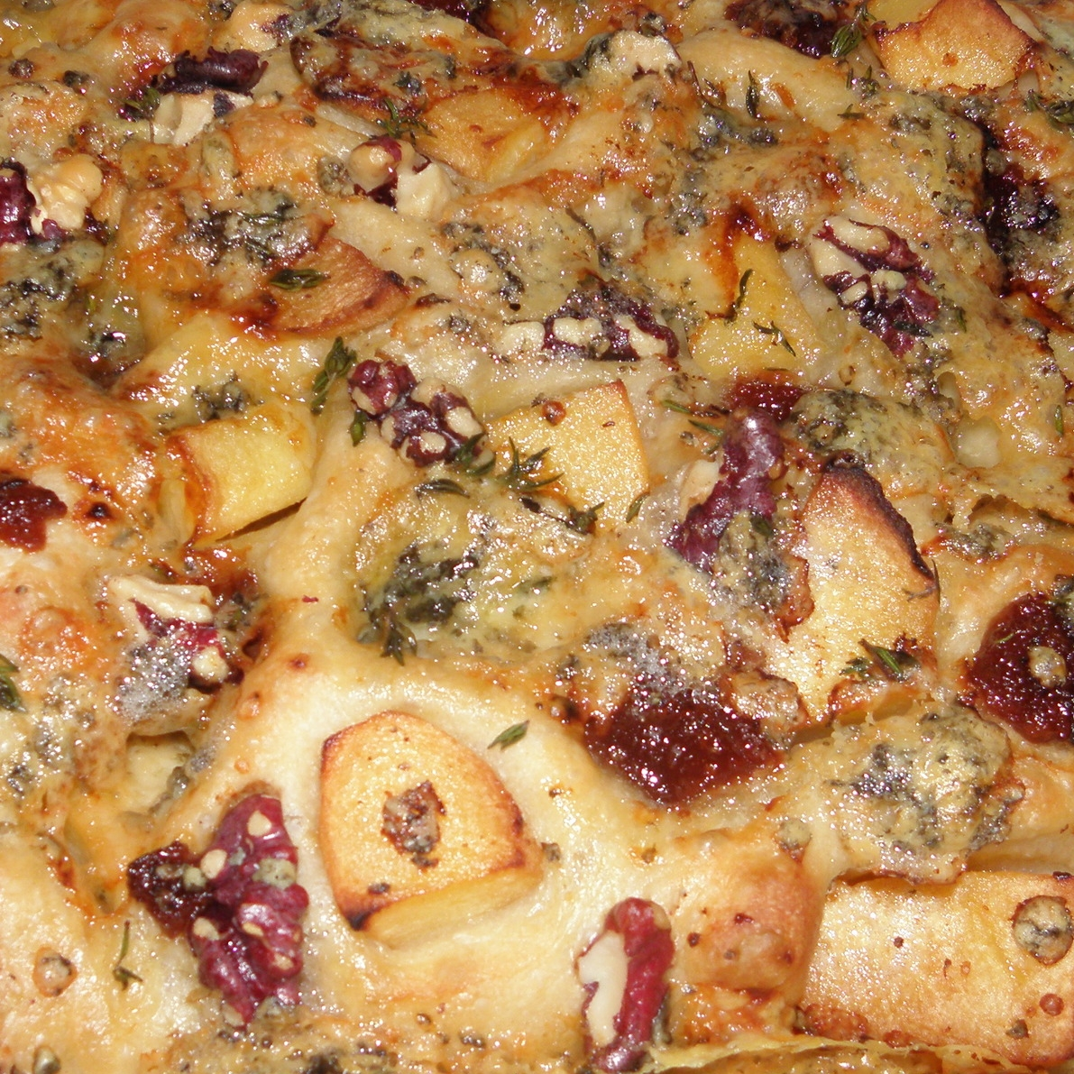 Stilton and quince focaccia