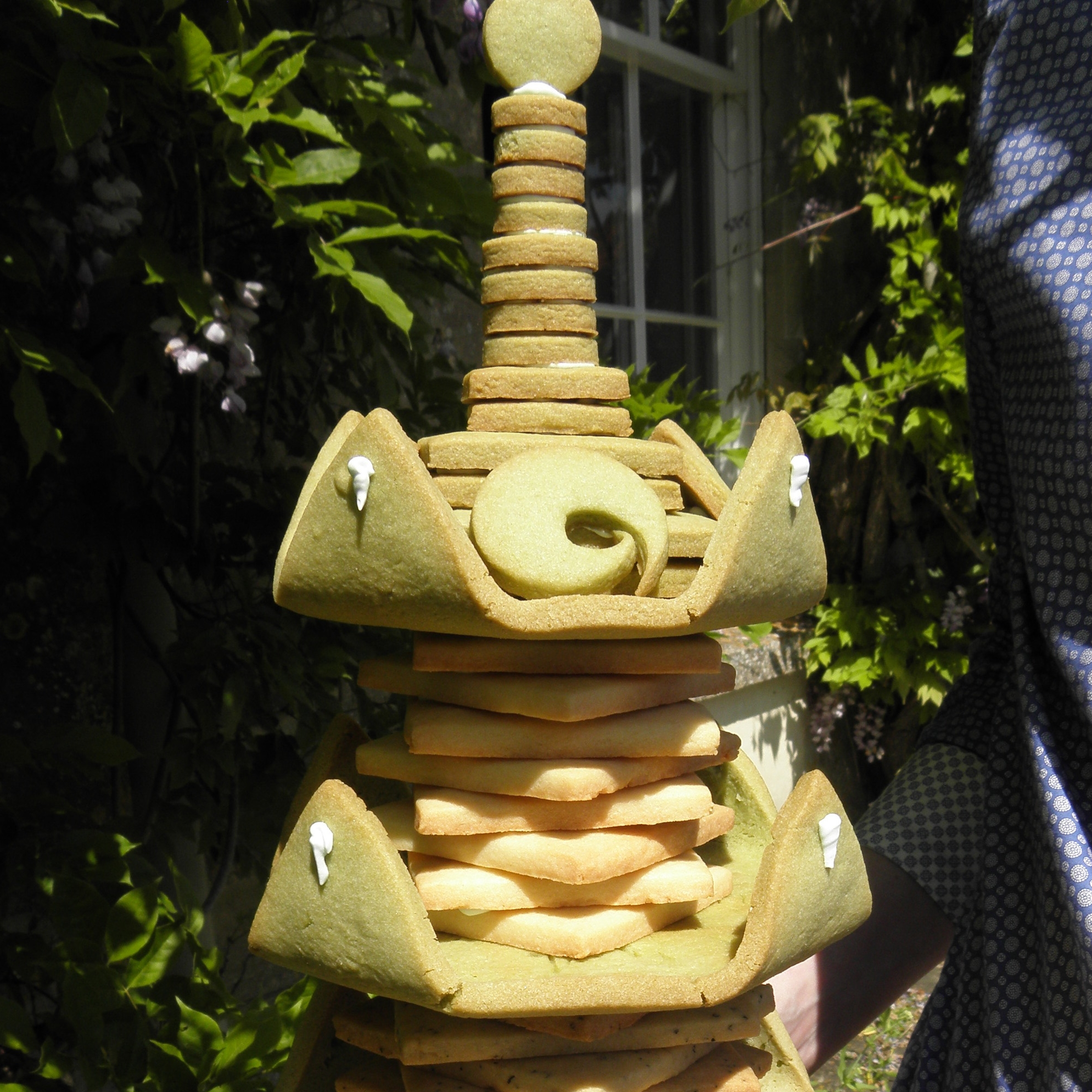 Japanese tea biscuit tower