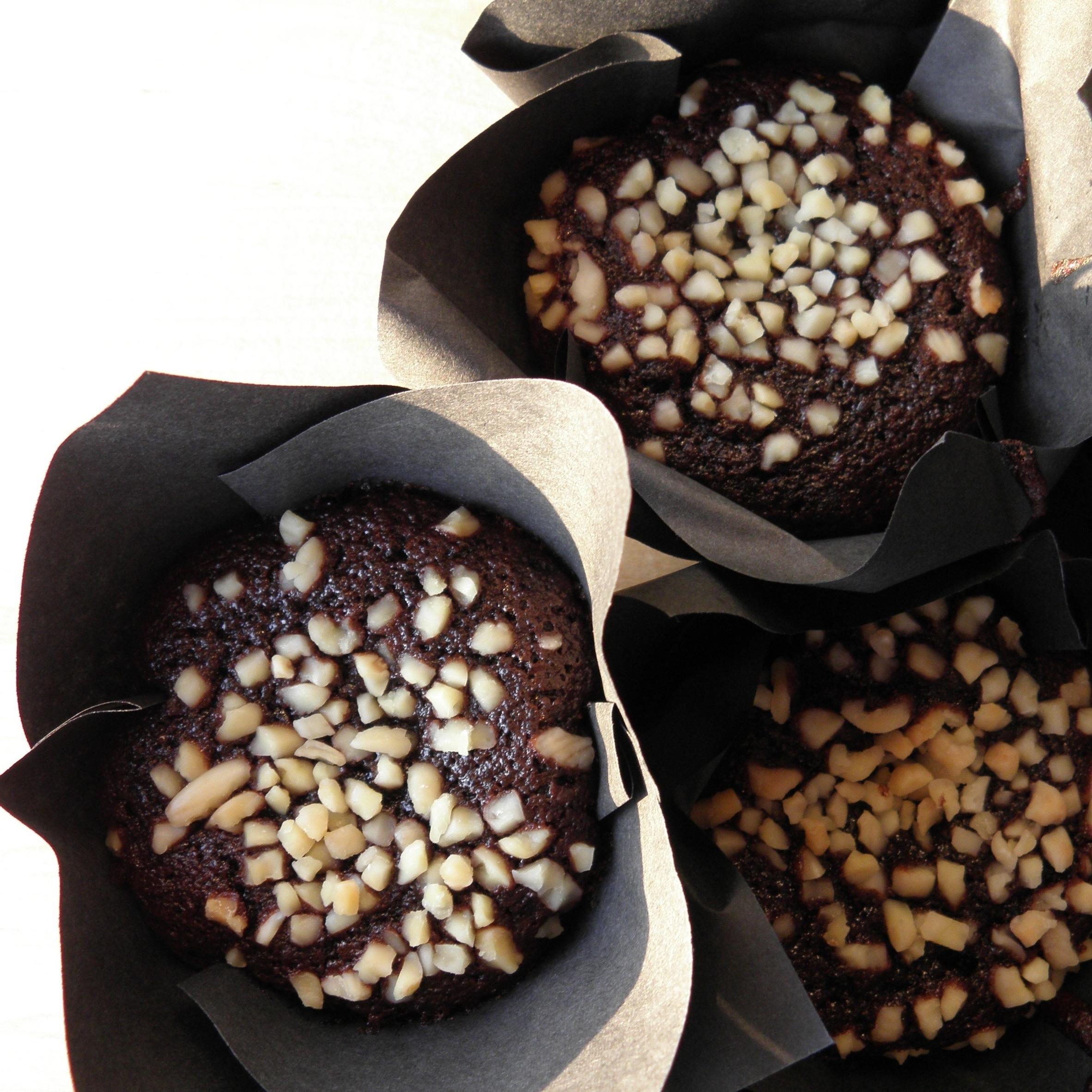 Black cherry and chocolate egg cakes