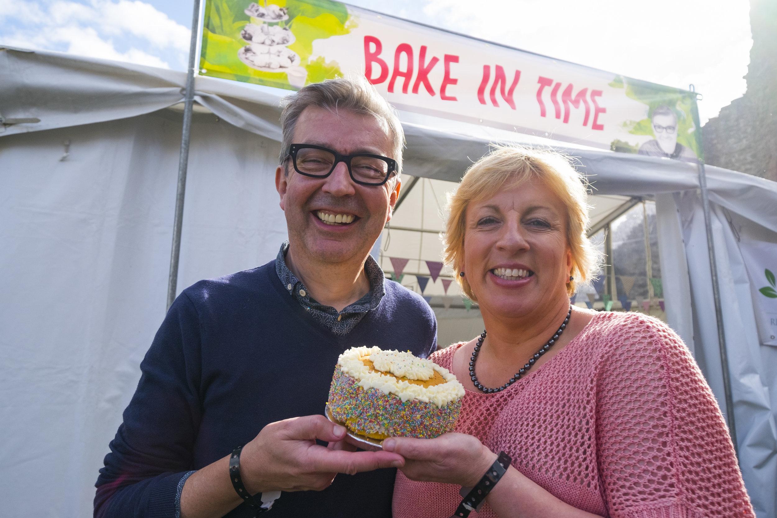 Howard Middleton, Sandy Docherty, Bake in Time Stage, Ludlow 2017 Food Festival.