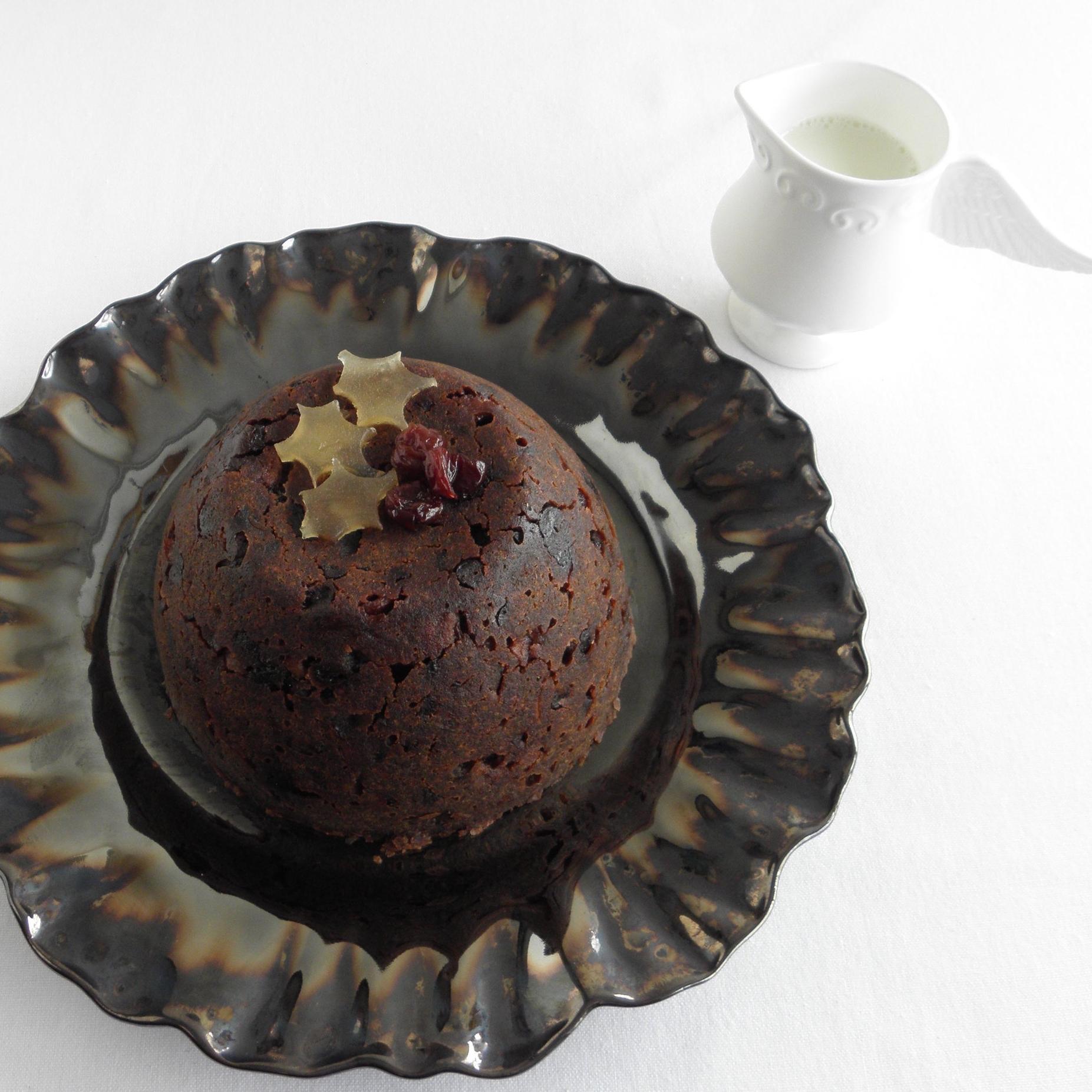 Rhubarb and Armagnac plum pudding