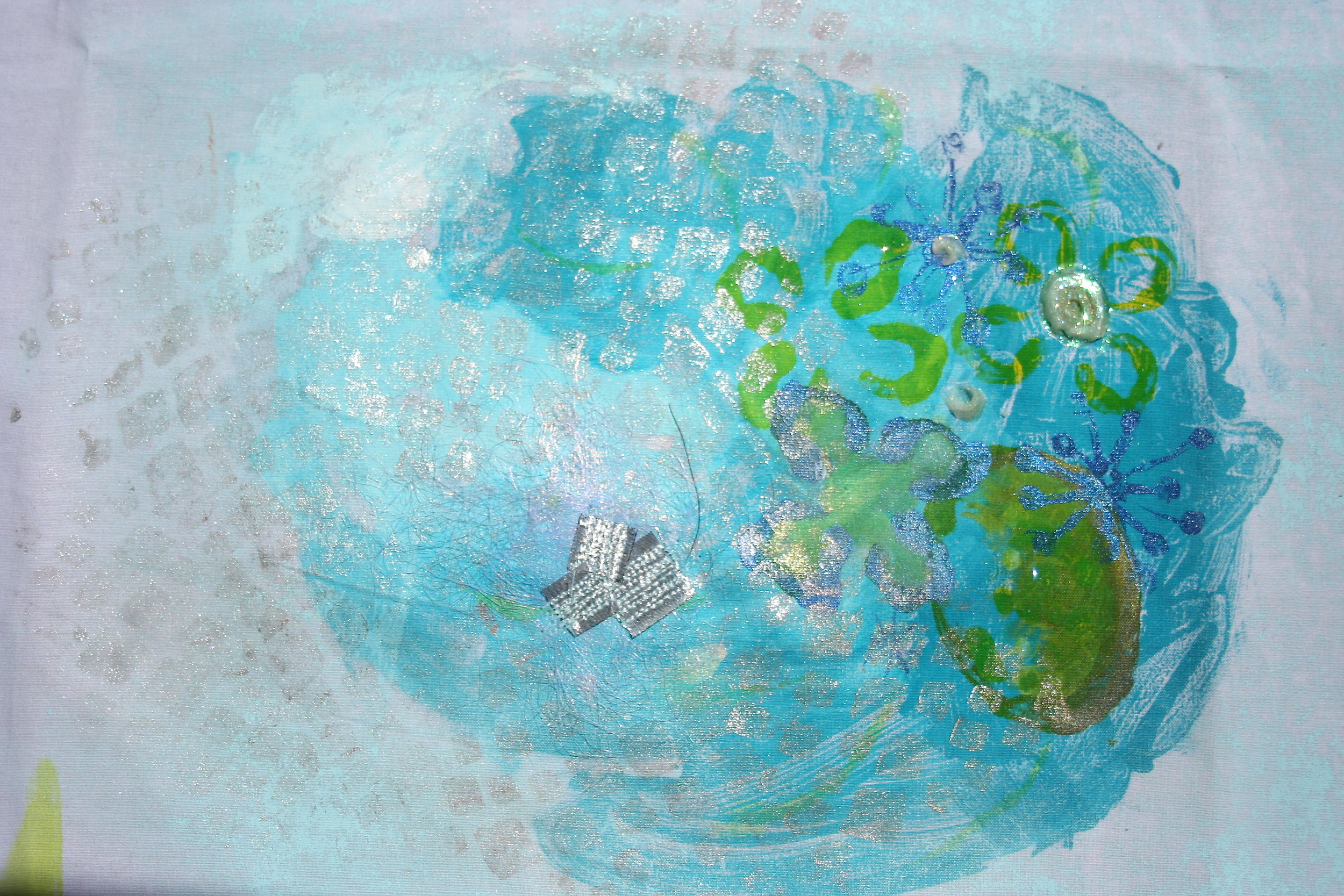 Student Work- Hand Embroidery on Monoprinting, Surface Design, Encaustic