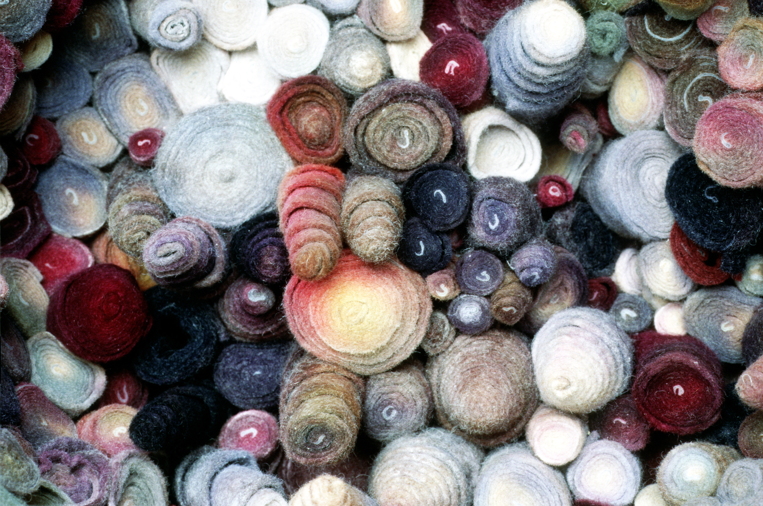 Rolled, Dyed, Coiled Wool