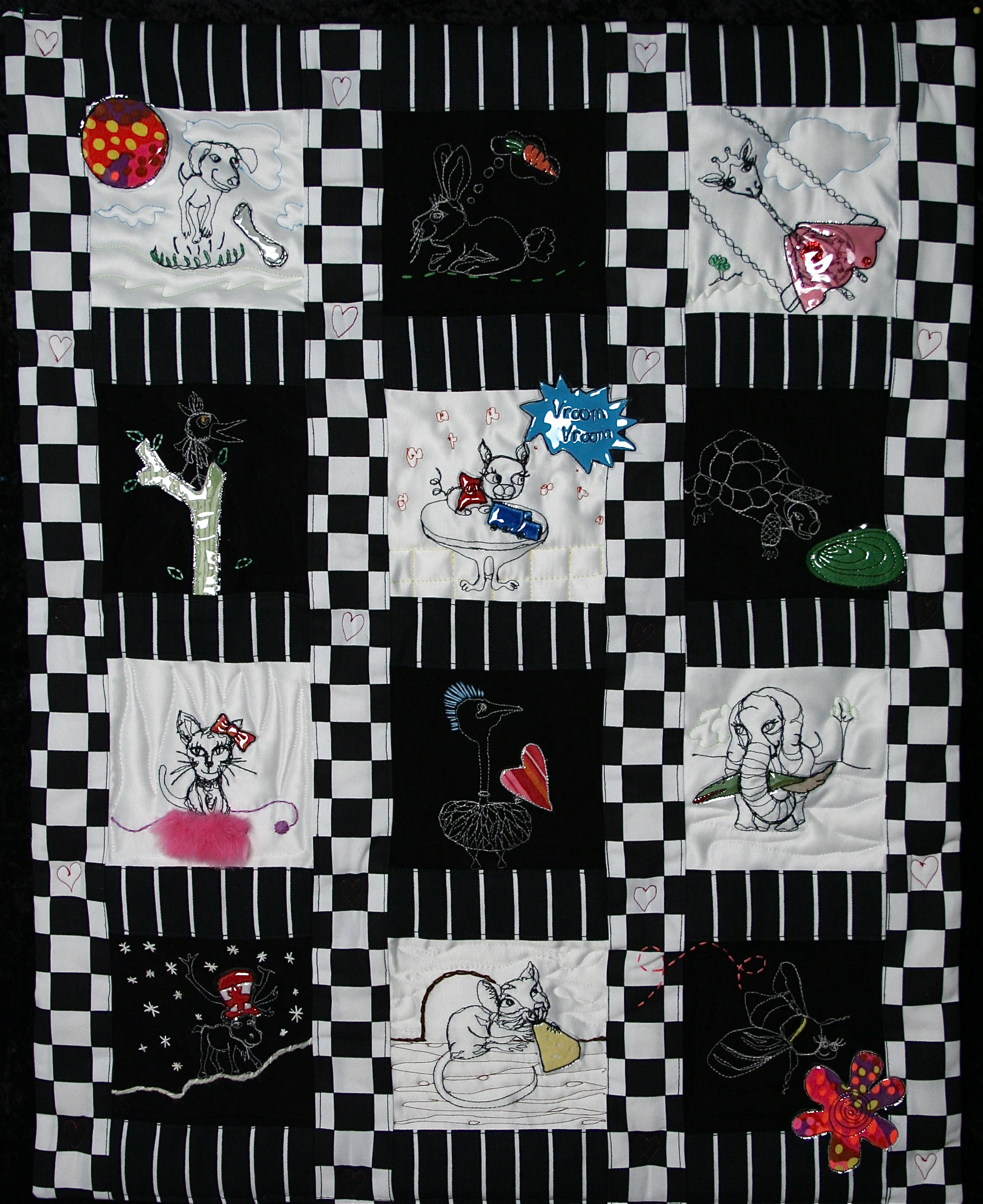 Madoc's Quilt 2009-2010  Free motion stitching, hand embroidery; assorted materials