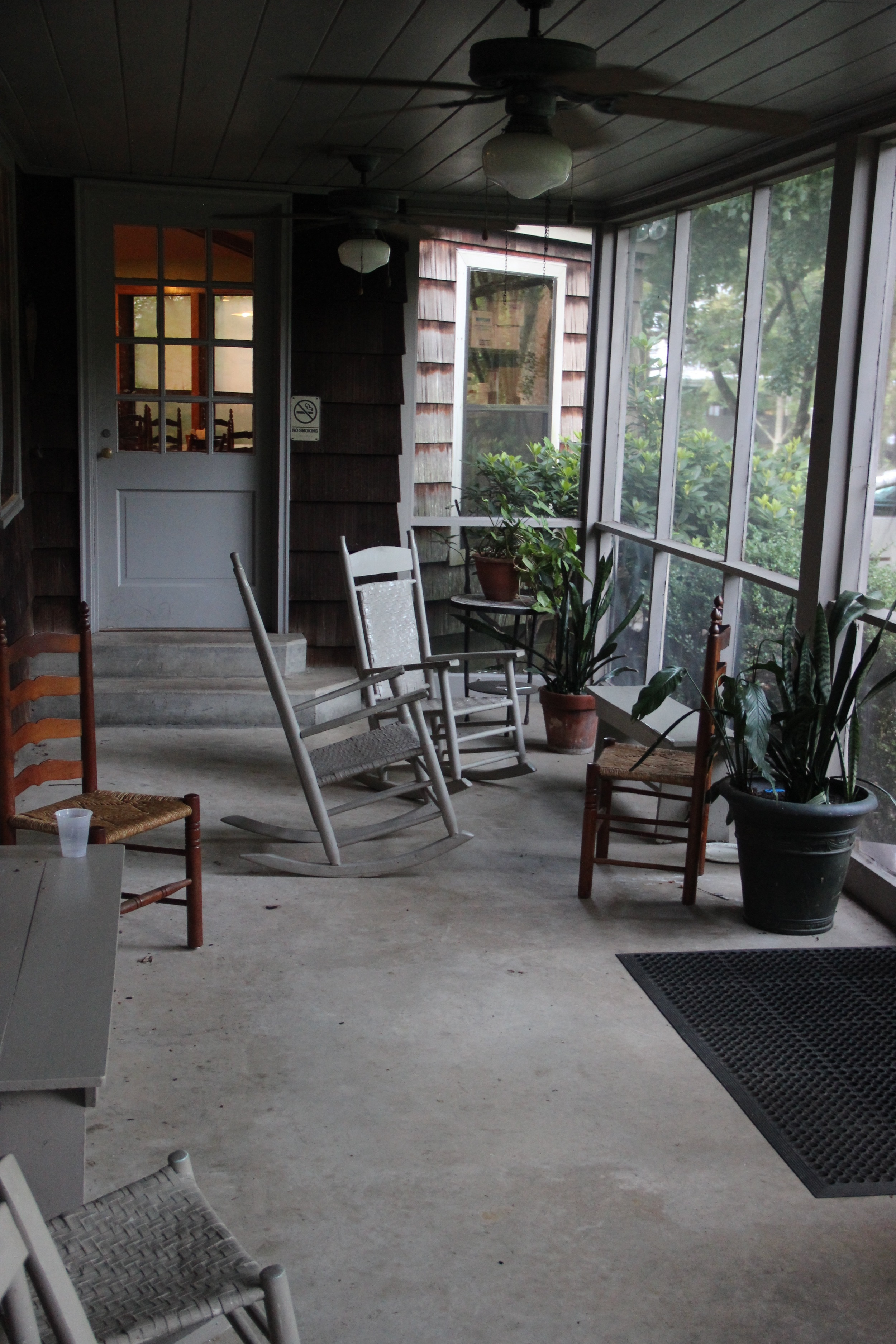 Staff, dining porch. Great place to sit alone and contemplate (not that an instructor ever gets that luxury!) or gather for a party/hang together, as staff/students/assistants/resident artists did on the last night!