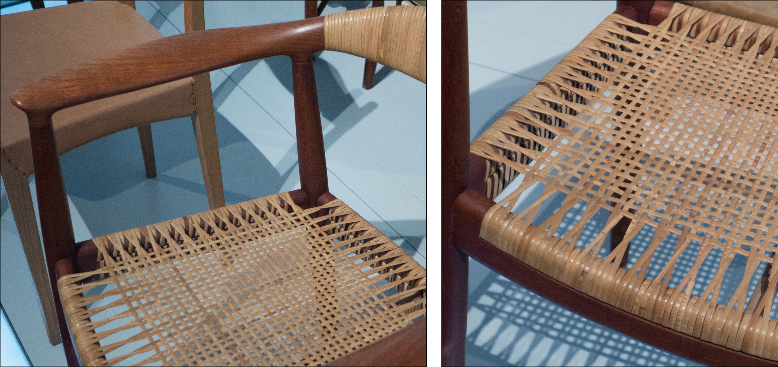 Detail of cane work on the seat of a Round Chair by Hans Wegner 1949