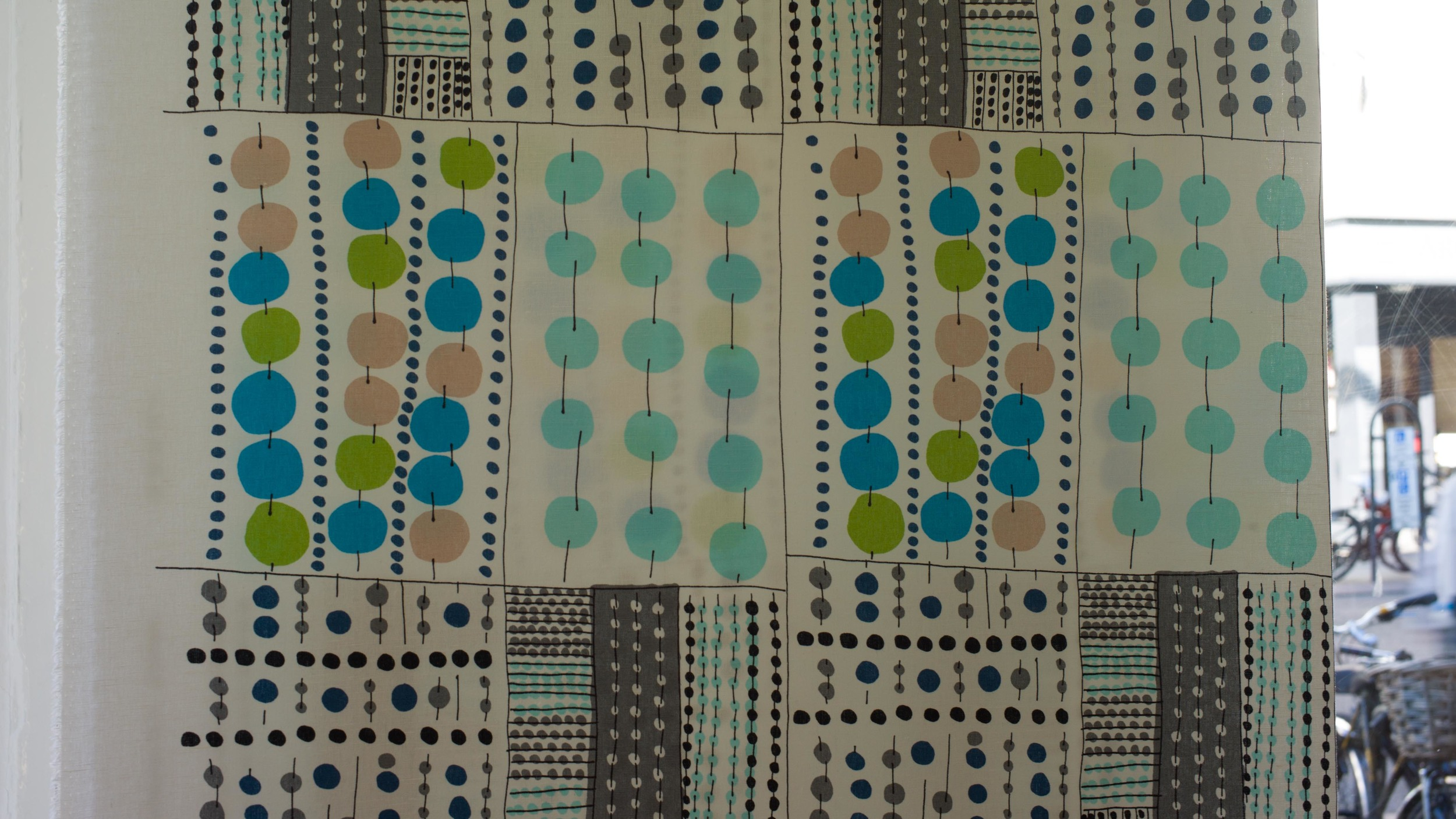 Korona by Jenni Tuominen - 100% linen displayed in the window at Nord