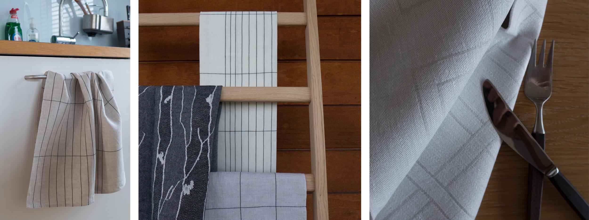 Manhattan tea towel in natural  Bjork and Manhattan in white and natural  Flätan napkin