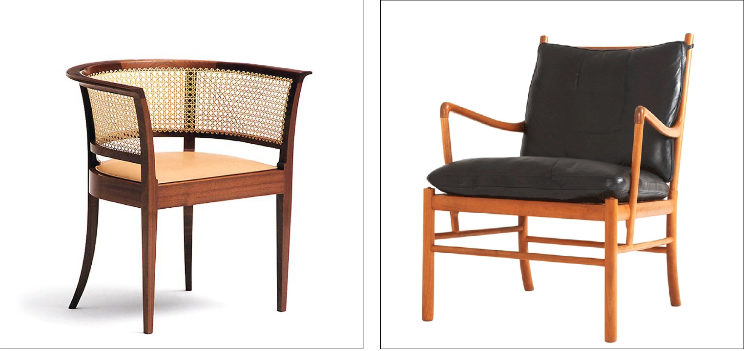 Chair for the Faaborg Museum by Kaare Klint 1914  Easy chair by Ole Wanscher 1949