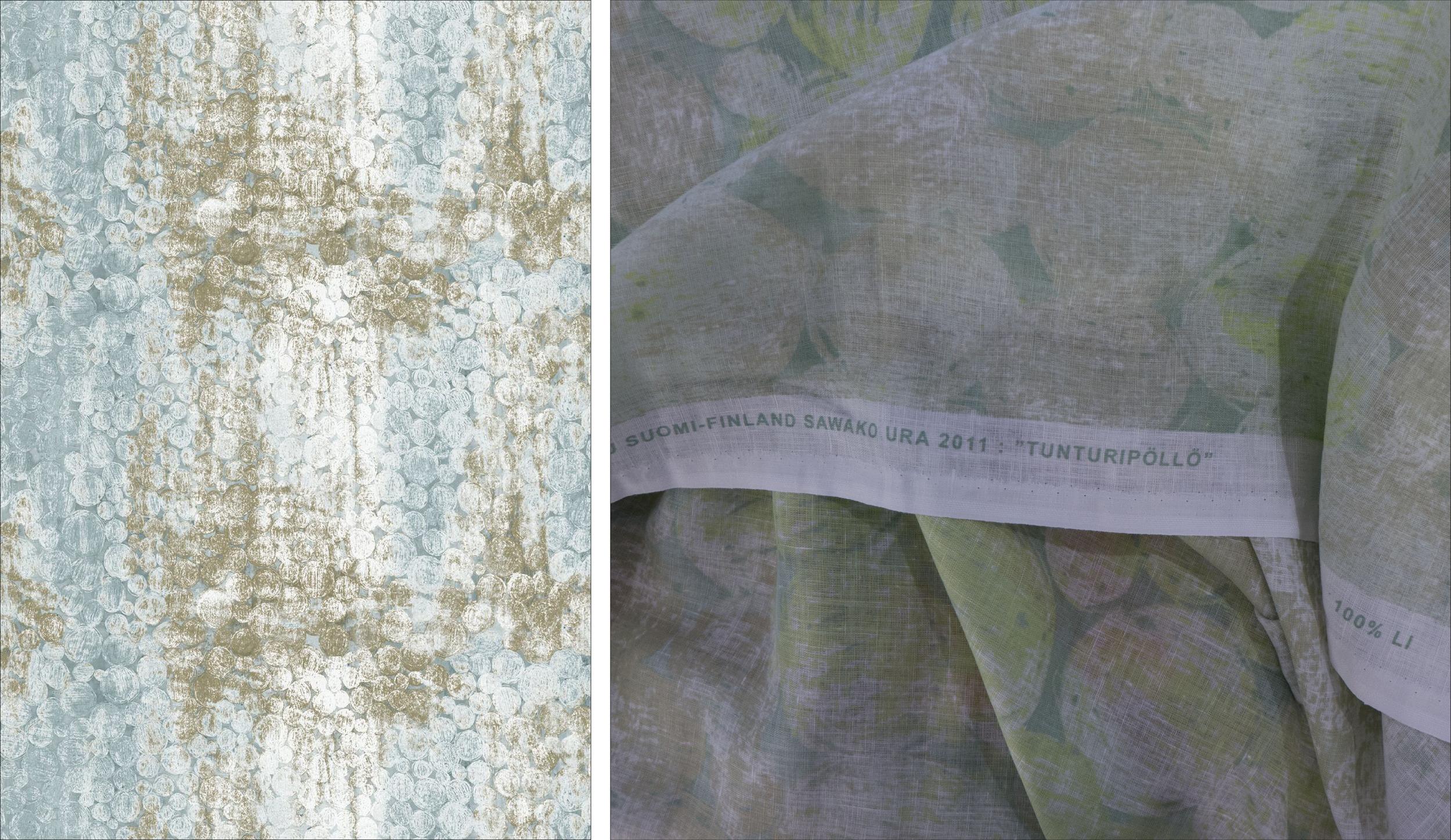 Tunturipöllö - Marimekko fabrics are identified on the selvedge with the name of the designer - here Sawako Ura - and the date of the design