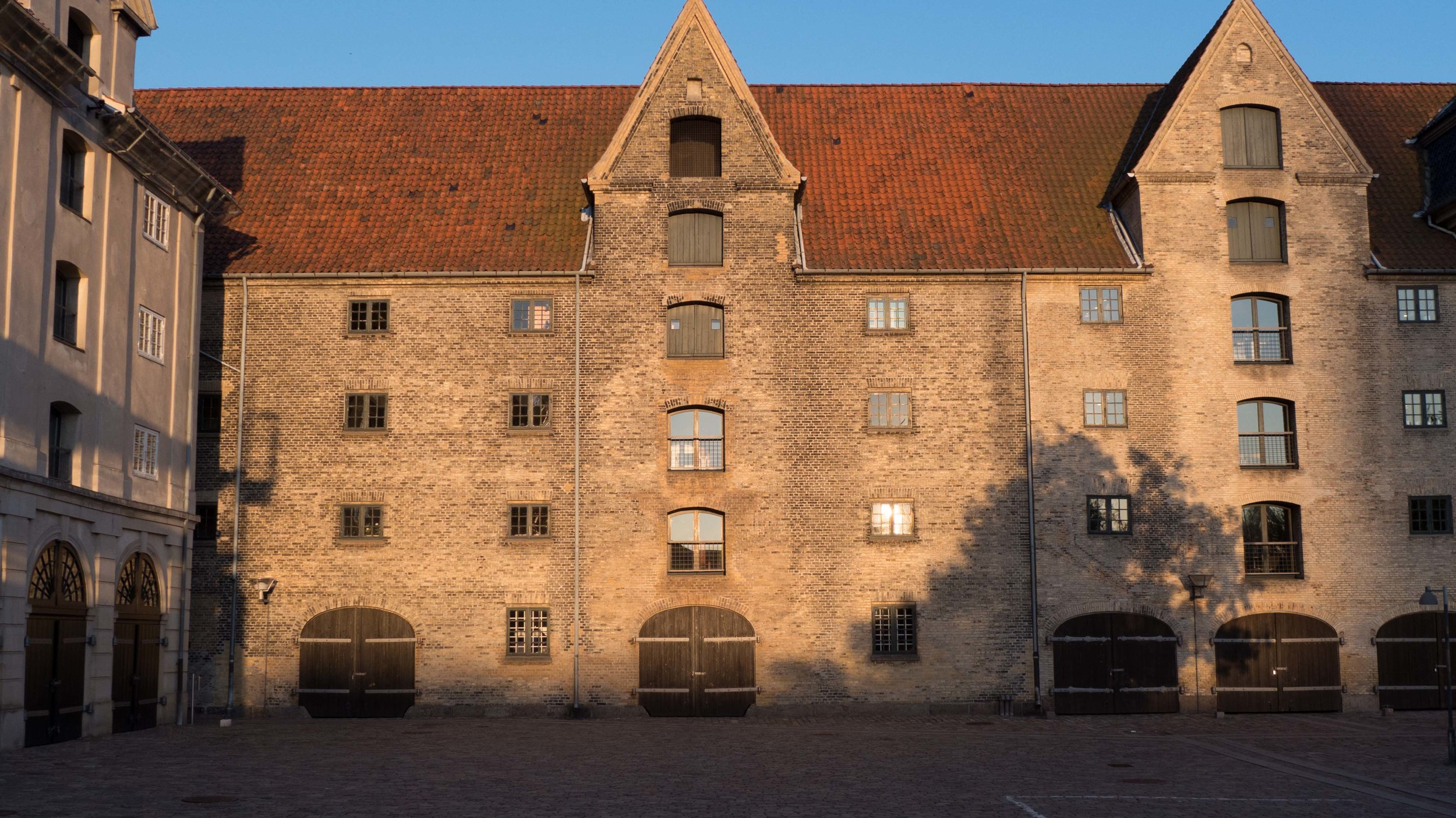 Brick warehouse in Copenhagen in the early evening