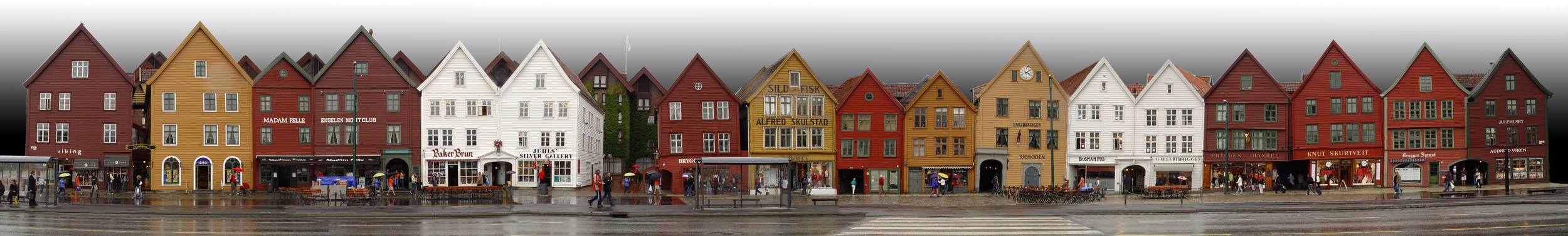 Timber houses along Bryggen, Bergen.   Image from   Wikipedia - click for longer version of the block