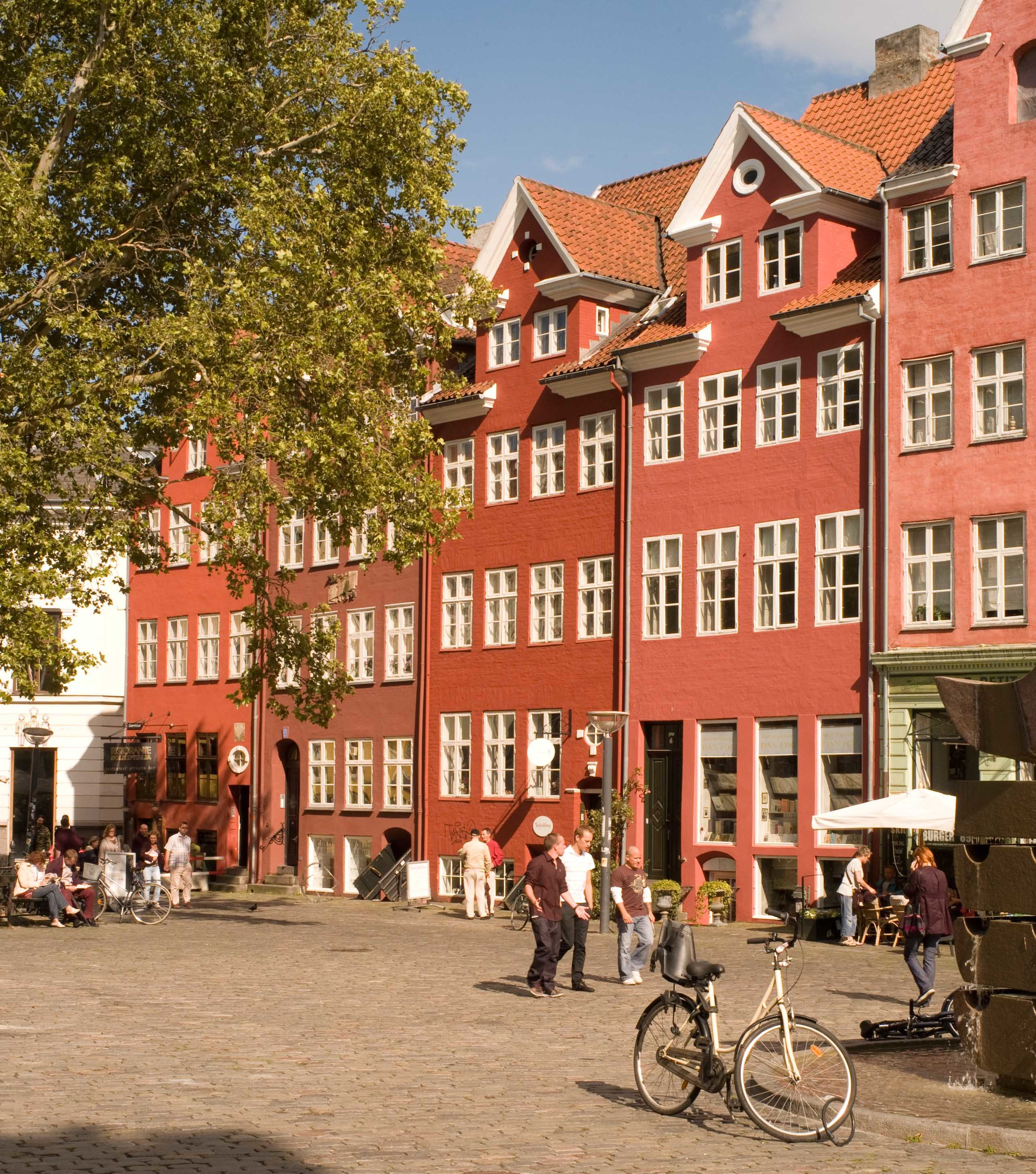 Buildings across the south side of a square at Gräbrødretorv in an area of the city rebuilt after the fire of 1728