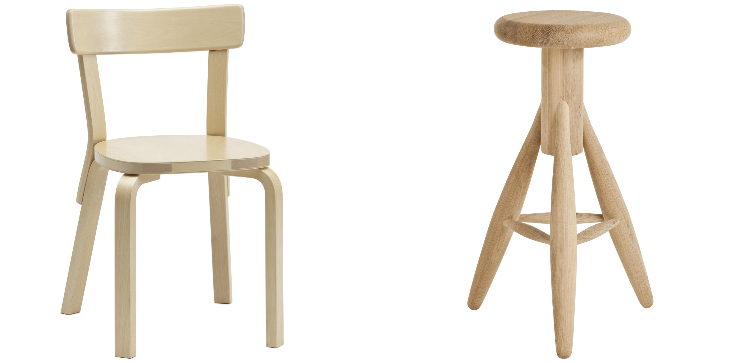 Chair 69 designed by Aalto in 1935 and still in production and the Rocket Stool by Eero Aarnio from 1995