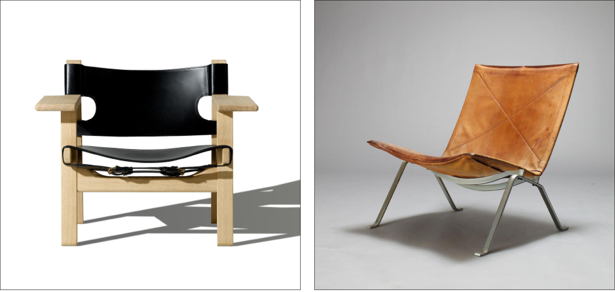 Spanish Chair byBørgeMogensen designed in 1958          PK 22 by PoulKjærholmdesigned in 1956