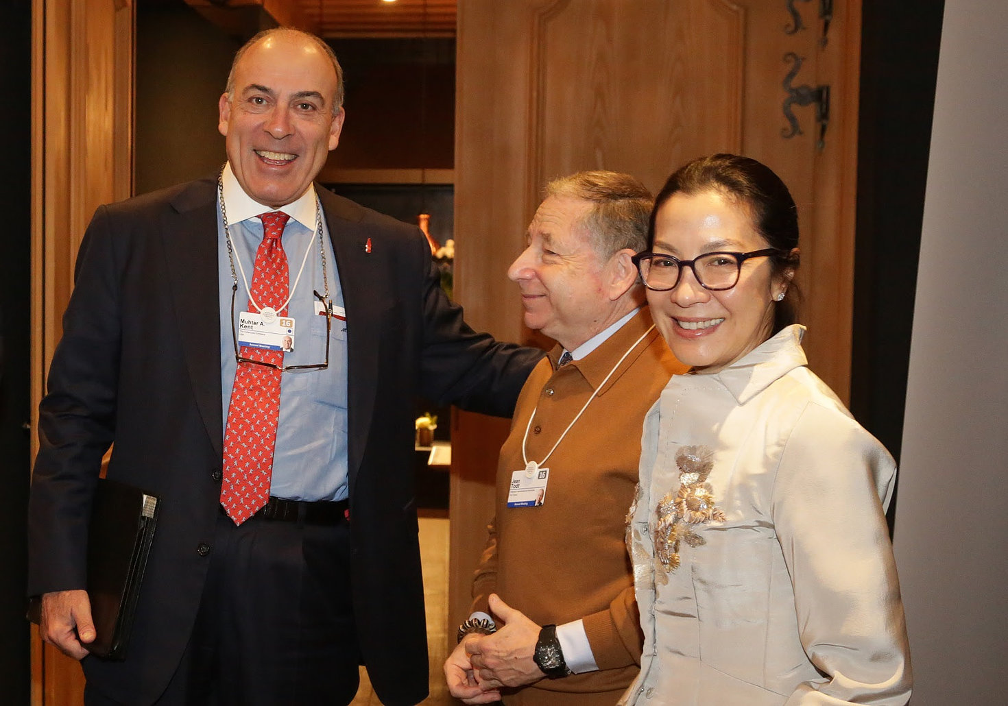 Muhtar Kent, CEO of The Coca-Cola Company with Jean Todt, President of the FIA and Michelle Yeoh, Actress and Global Road Safety Ambassador