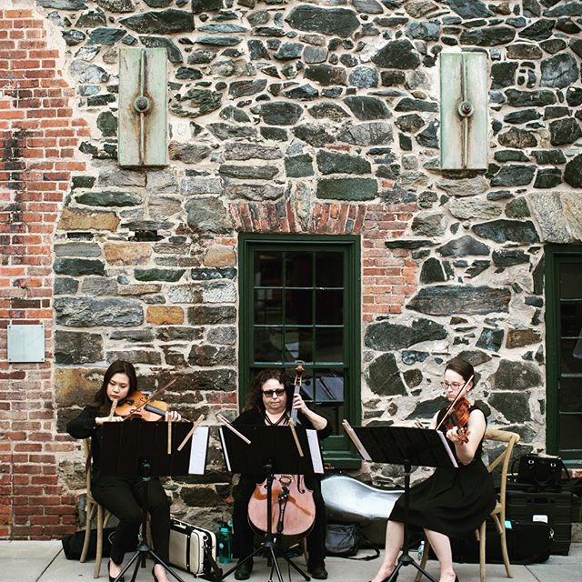 Wonderful ceremony at the Mt. Washington Mill Dye House! #stringtrio #baltimorewedding #tworiverschambermusic