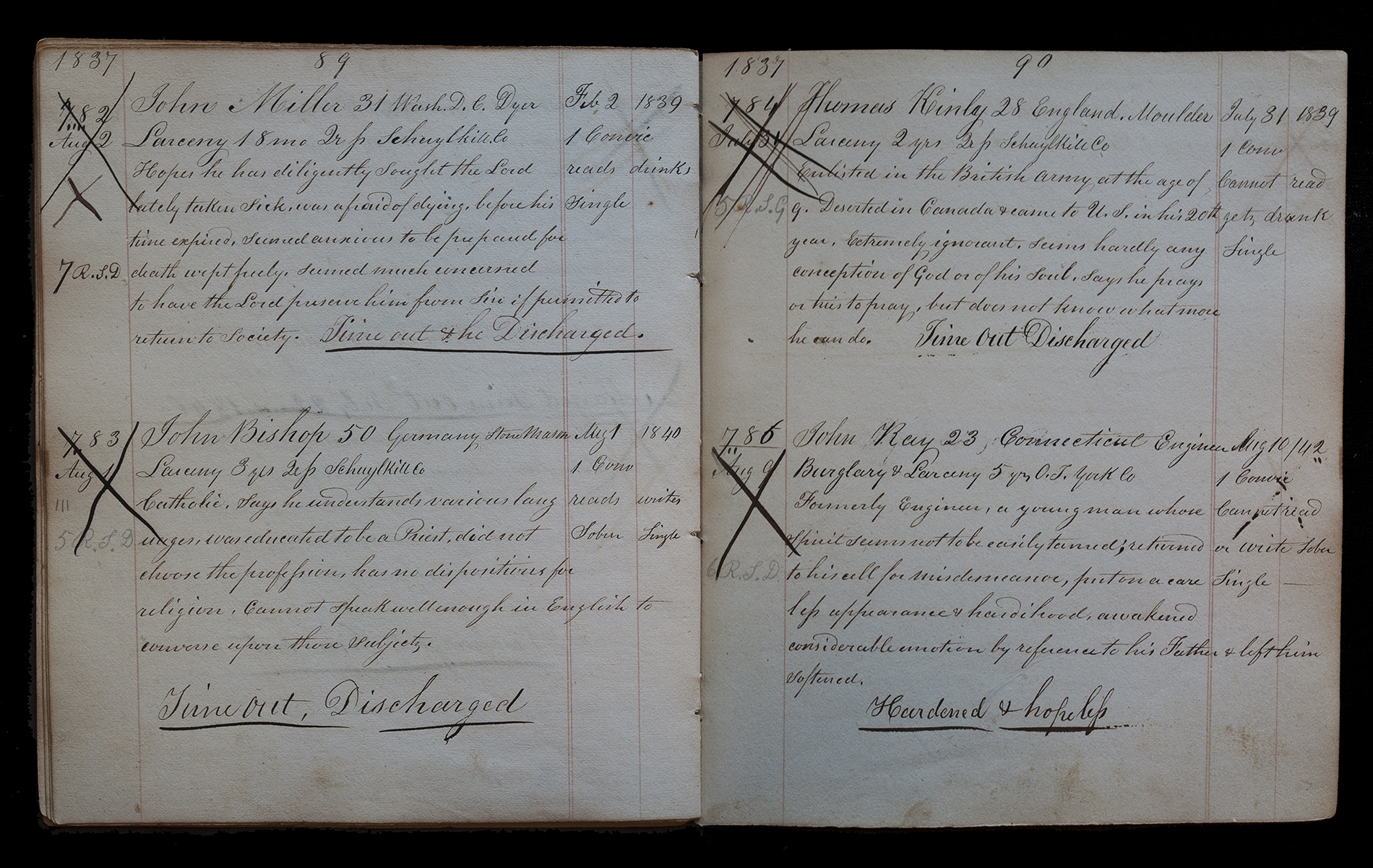 Warden's Logbook 1837, Page 89-90