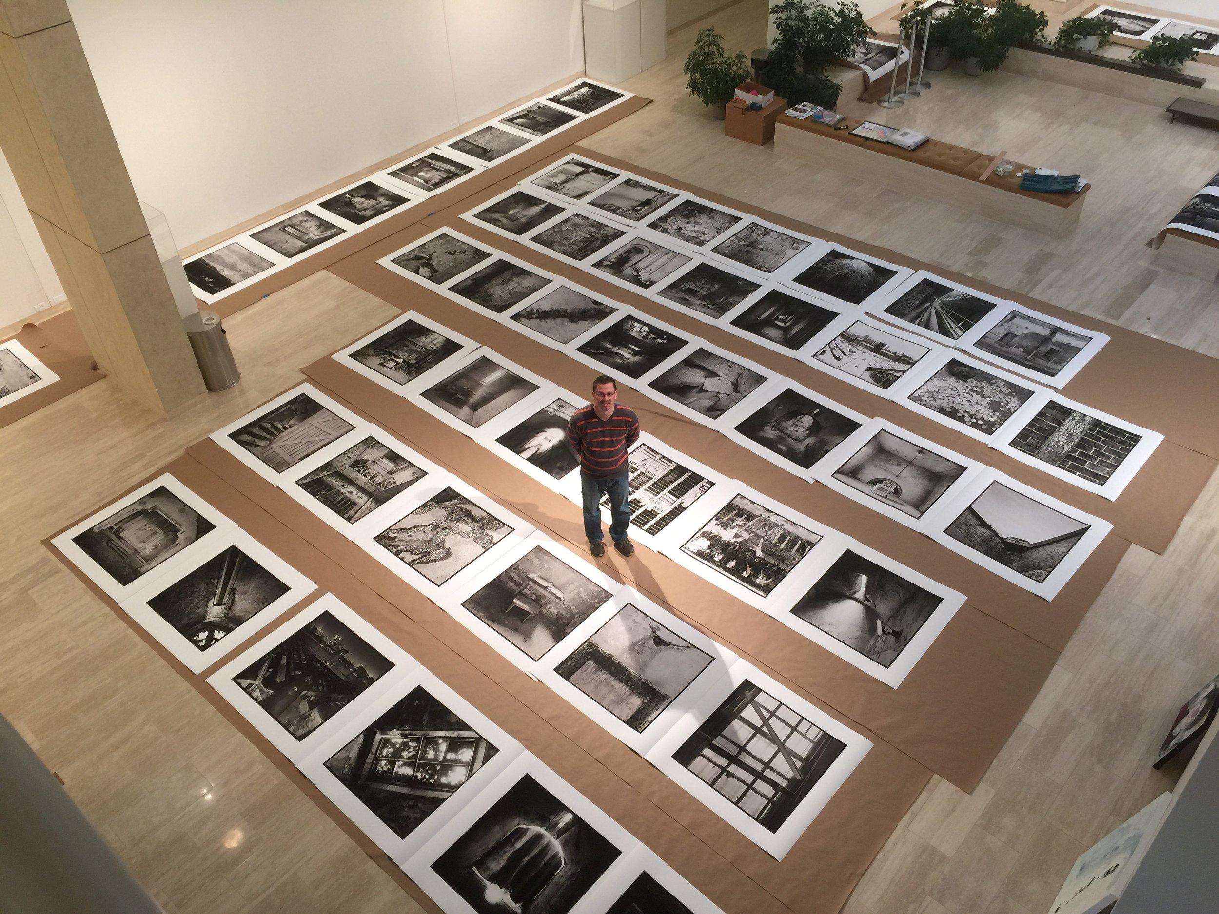 Self-Portrait during installation. Photograph Courtesy of David Arkin