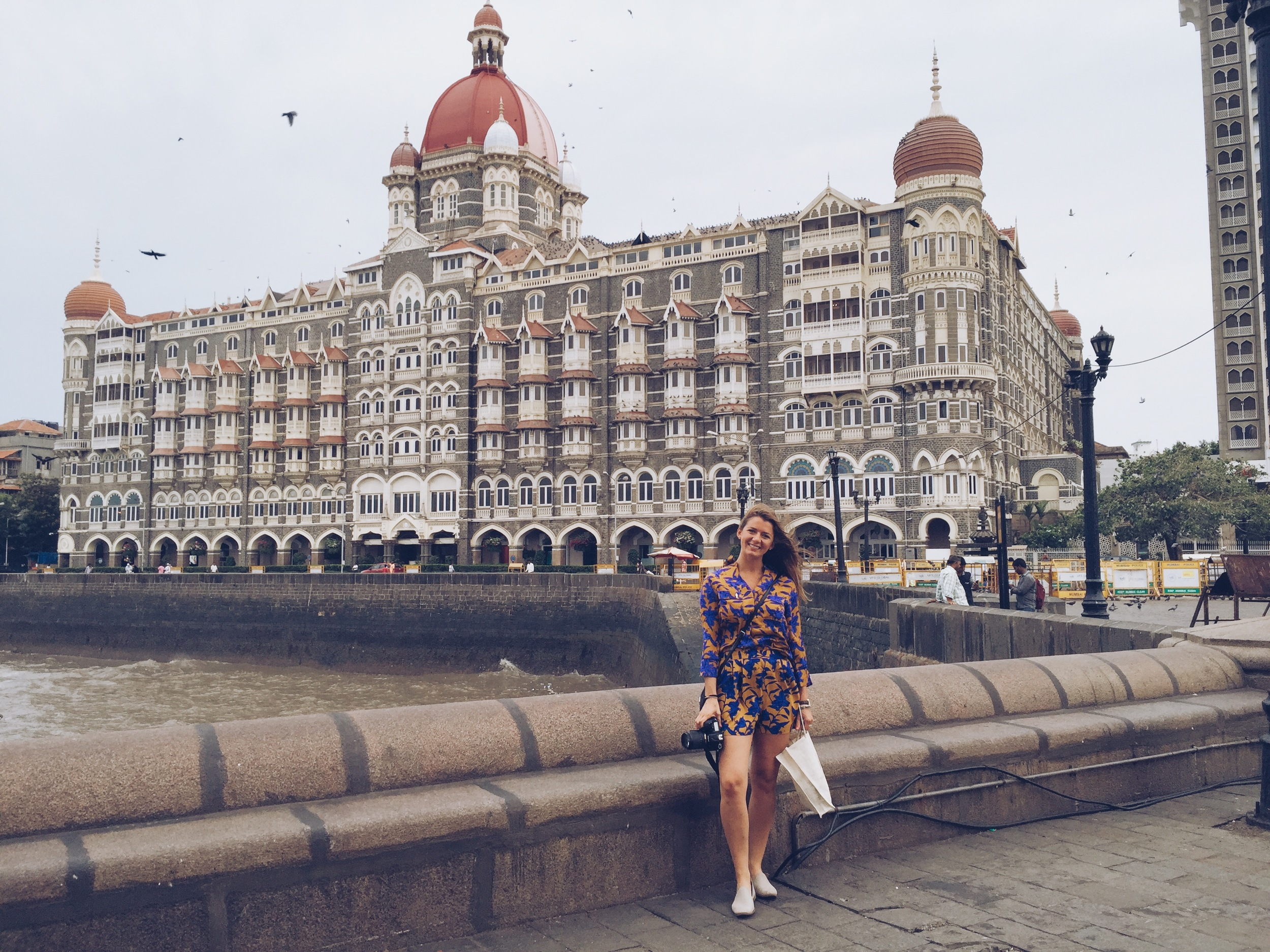 Standing in front of the Taj Palace Hotel Mumbai